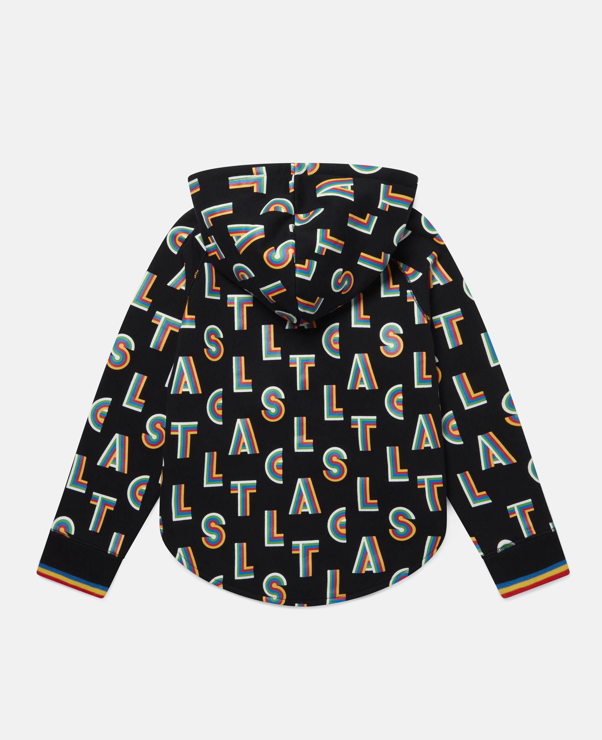 Sportliche Kapuzenjacke aus Fleece mit Streifen-Stella-Print -Schwarz-large image number 3
