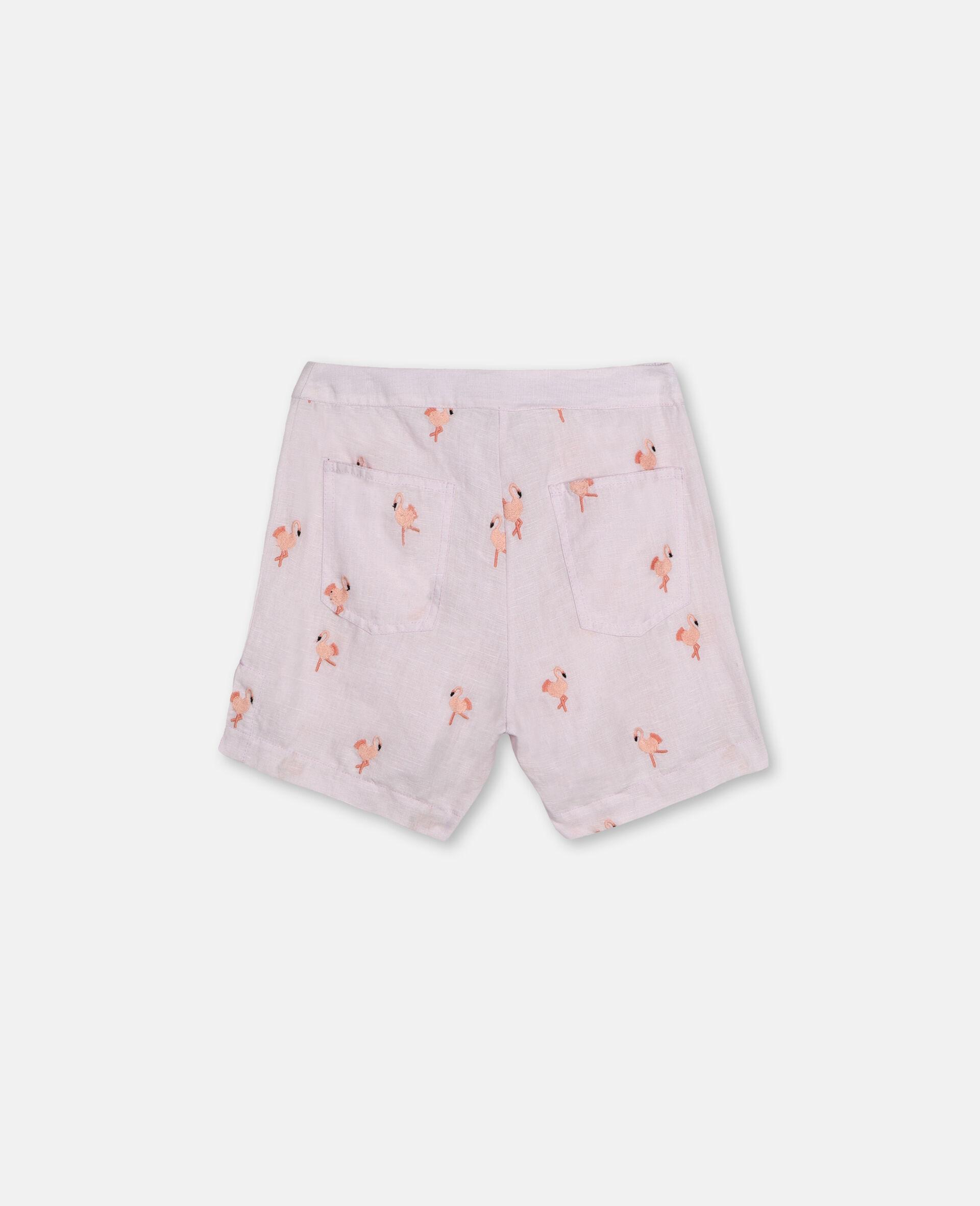 Embroidered Flamingo Shorts -Pink-large image number 3