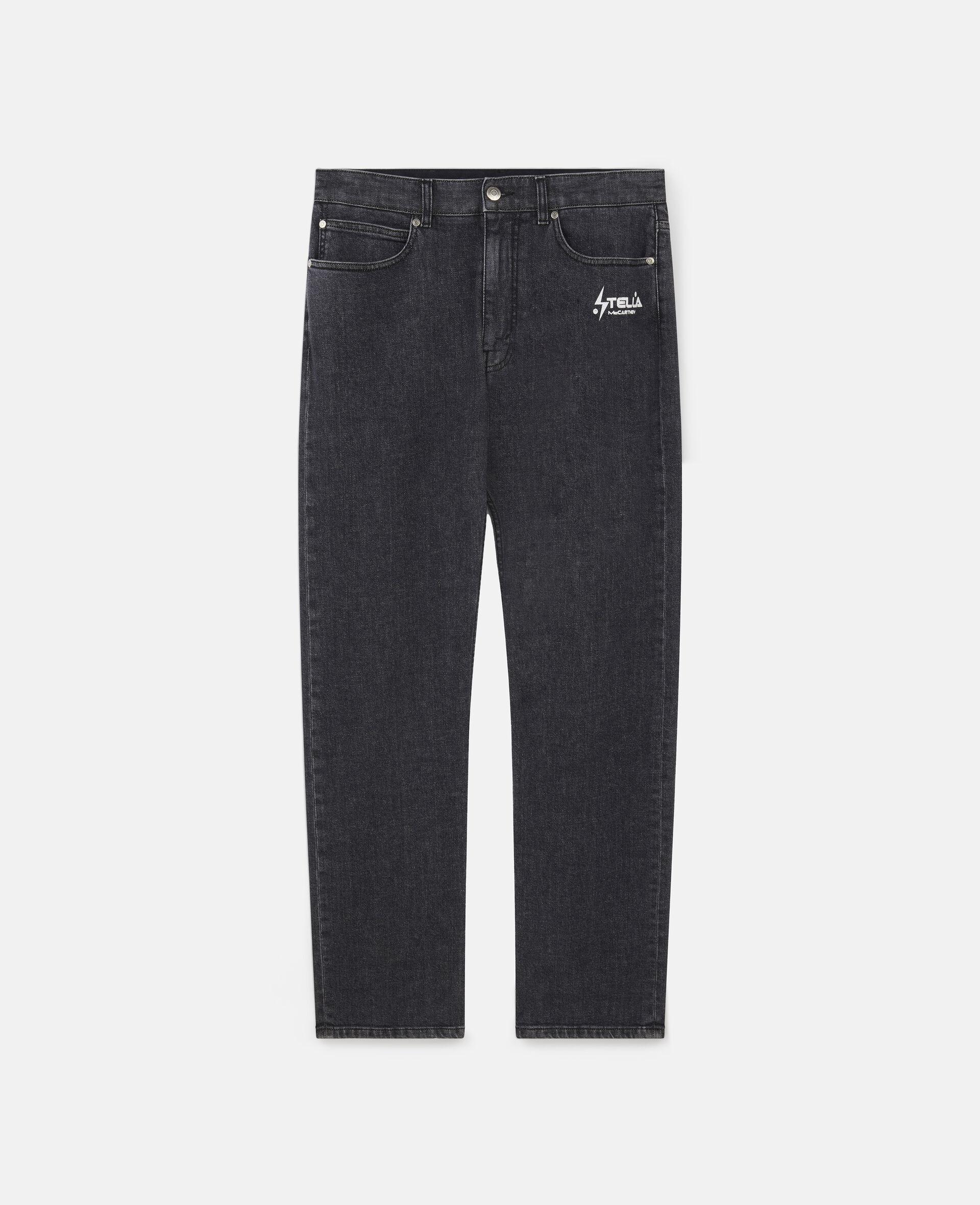 Jeans in Denim con Logo Stella Tom Tosseyn-Nero-large image number 0