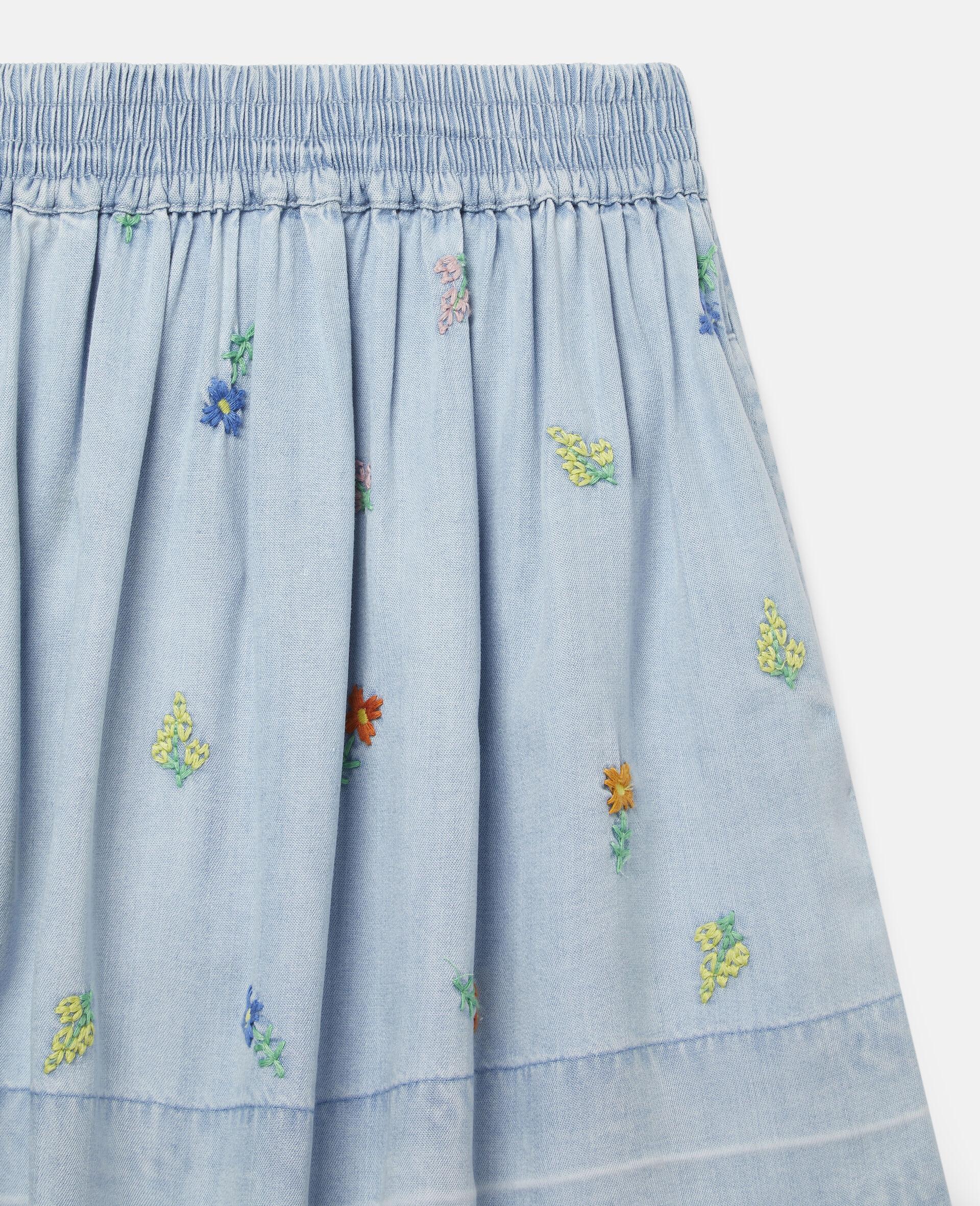 Embroidered Flowers Denim Skirt-Blue-large image number 1