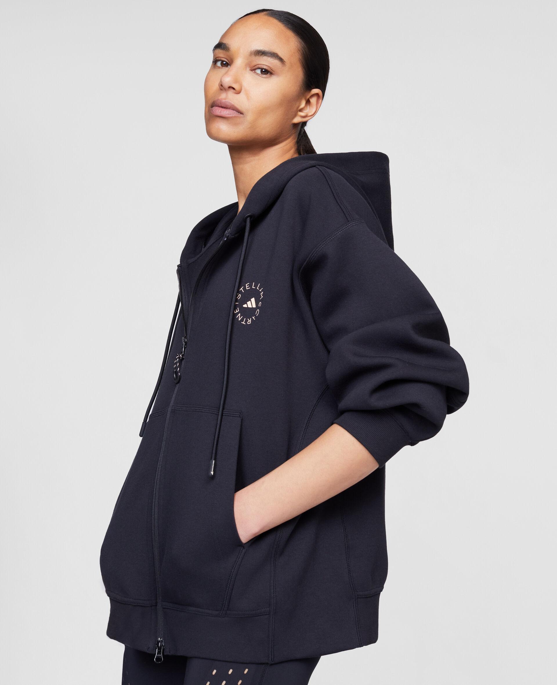 Schwarzes Kapuzensweatshirt mit Reißverschluss-Schwarz-large image number 3