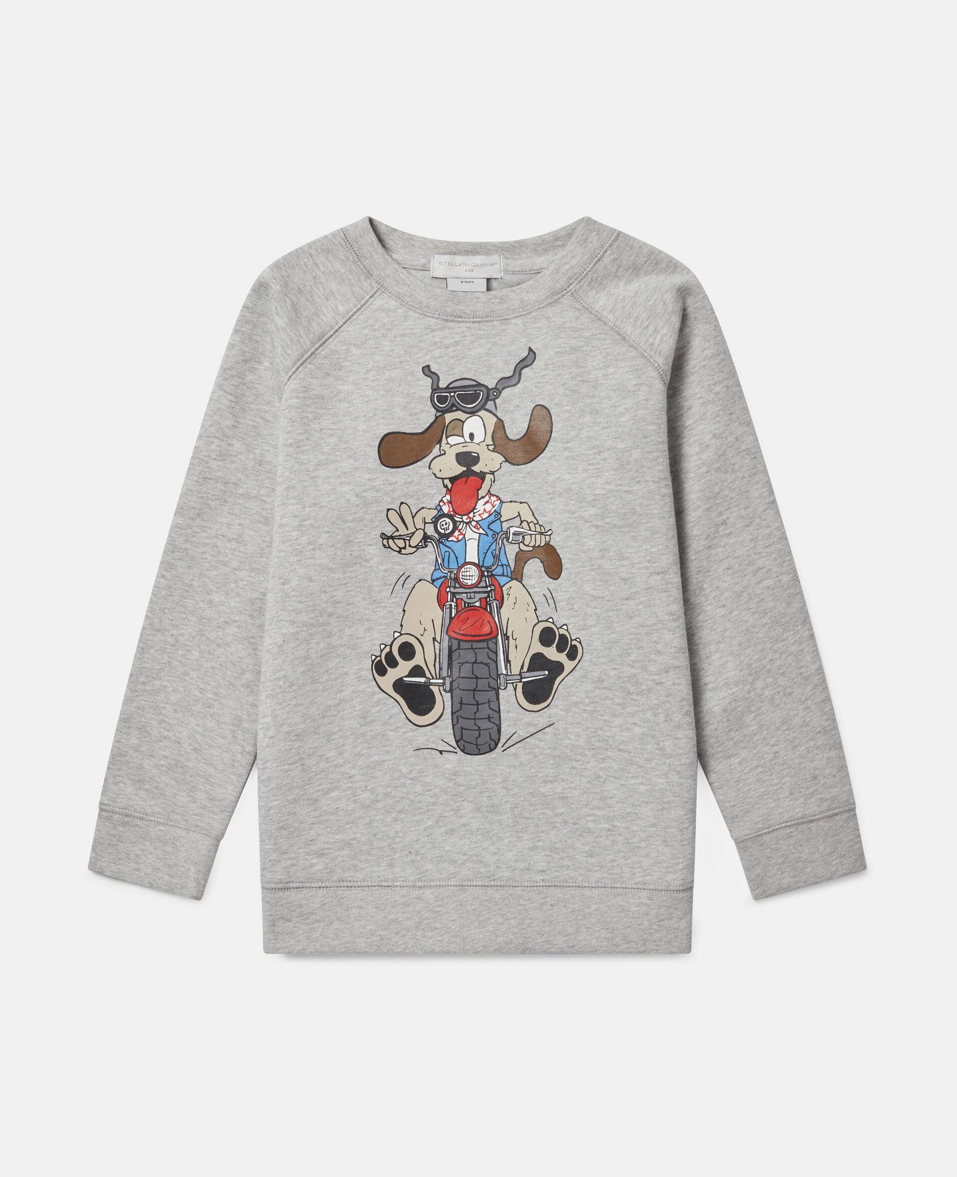Sweat-shirt en polaire imprimé chien motard-Gris-large image number 0