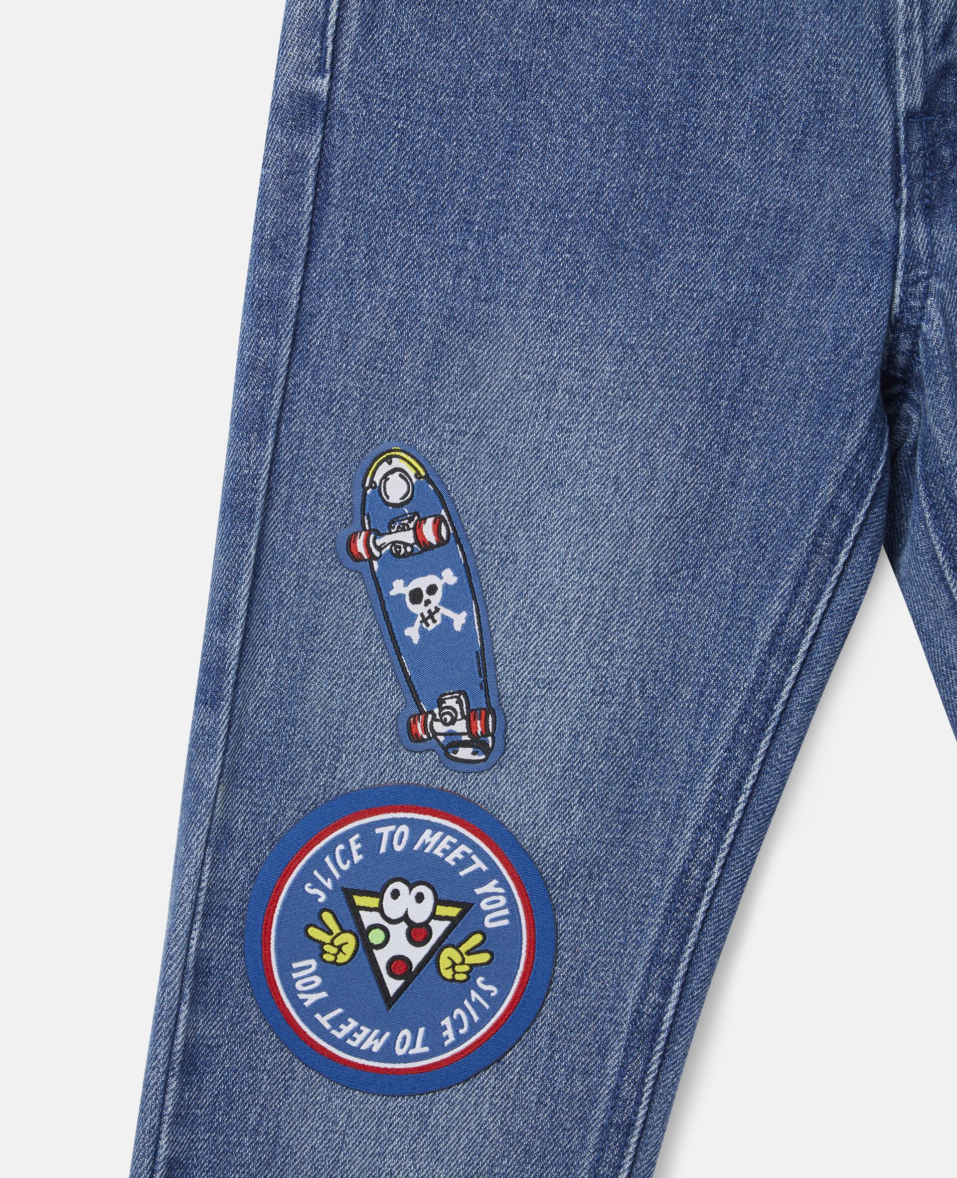 Pantalon en denim à écussons skateboard-Bleu-large image number 1