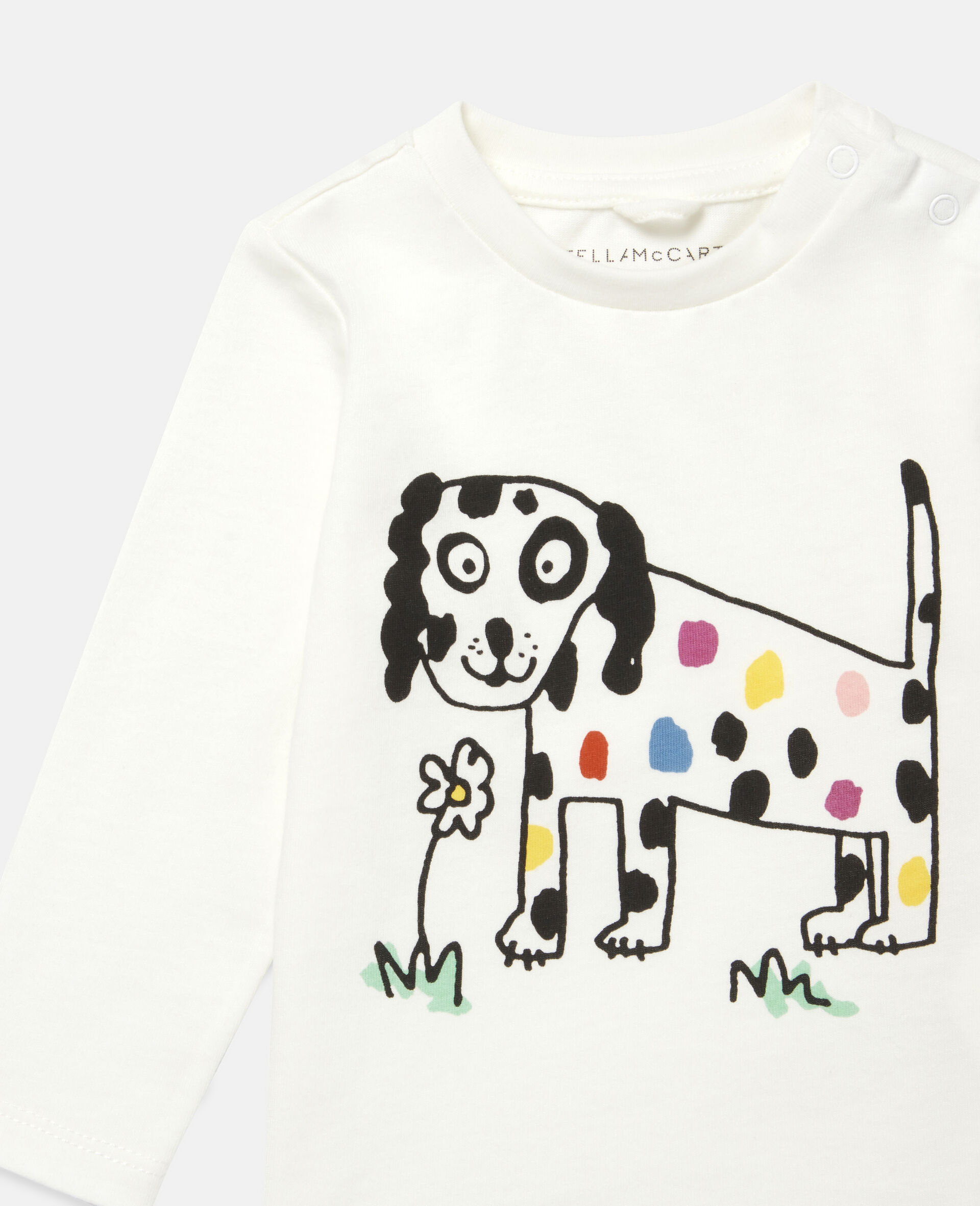 Haut à imprimé fleur et chien-Blanc-large image number 1