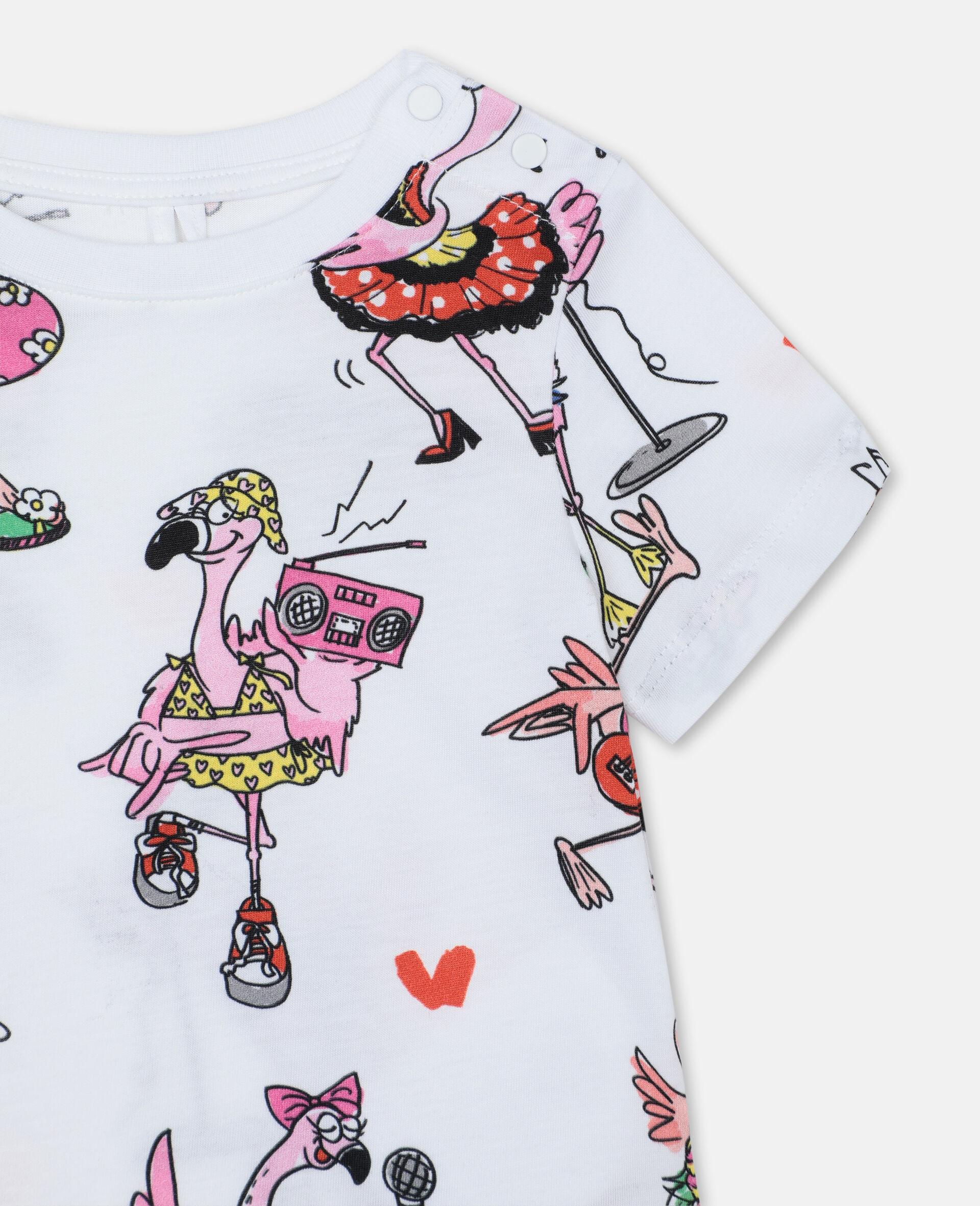 Flamingo Party Cotton T-shirt -Multicolour-large image number 1