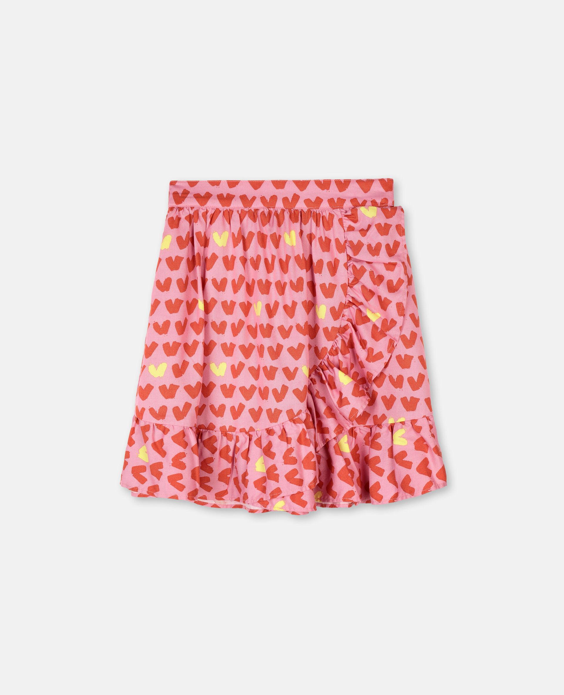 Hearts 粘胶纤维斜纹布半身裙 -粉色-large image number 0