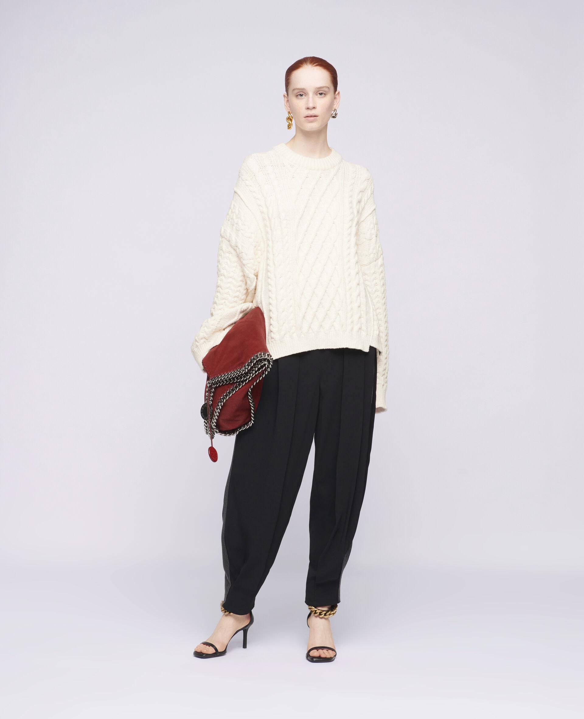 Übergroßer Pullover mit Aran-Muster-Weiß-large image number 1