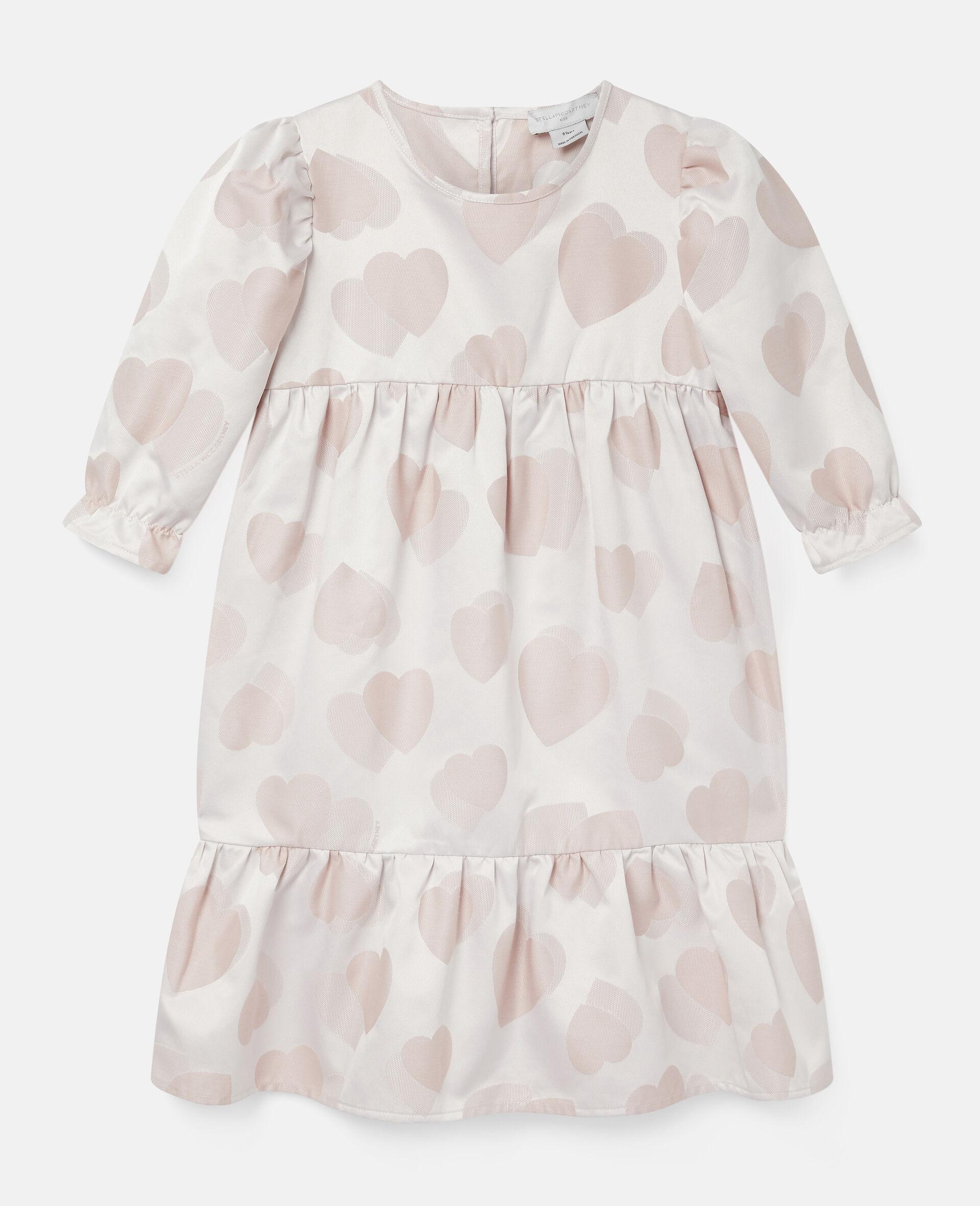 Kleid aus Jacquard mit Herzen-Print-Rose-large image number 0