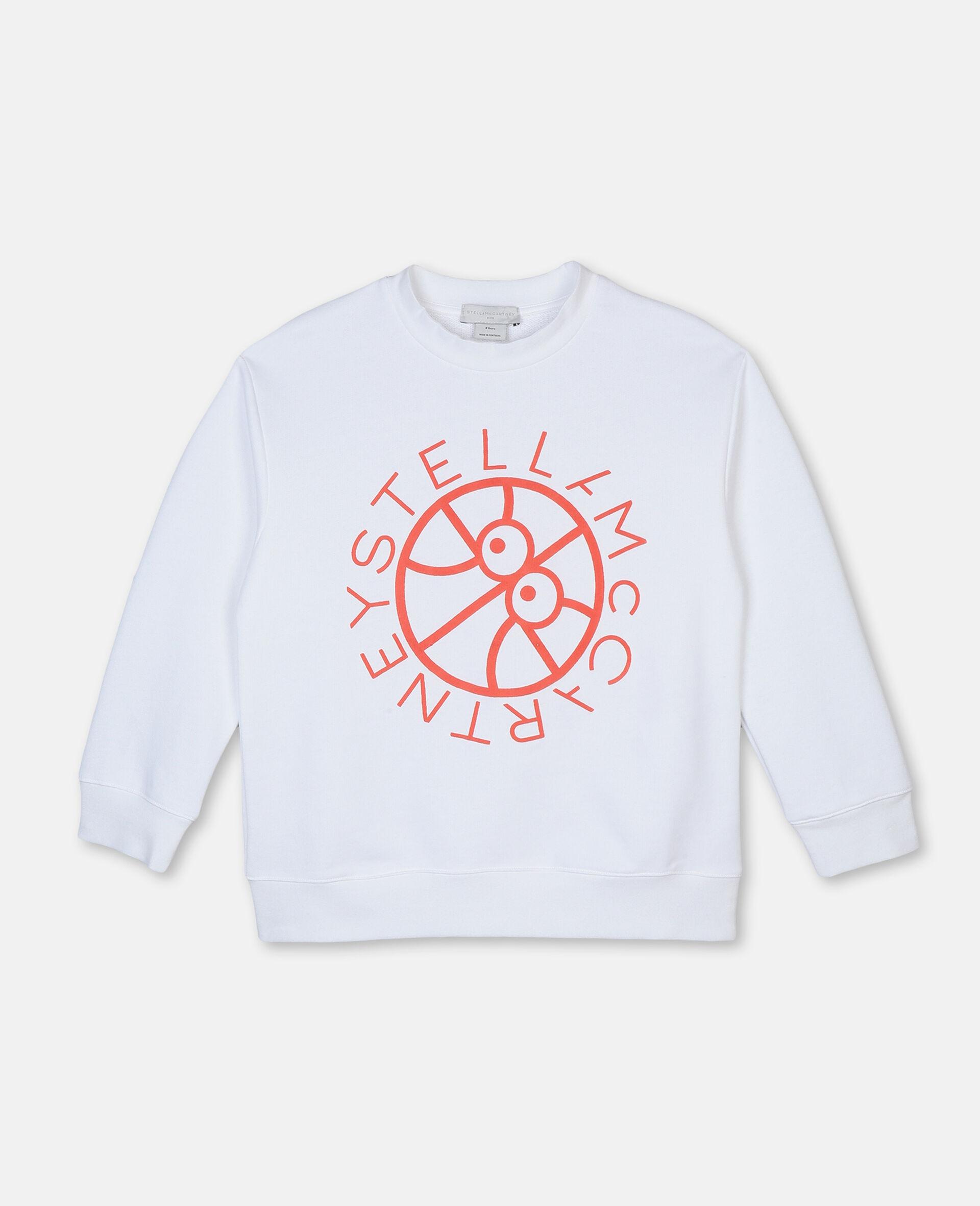 Felpa Oversize in Cotone con Logo Basket -Bianco-large image number 0