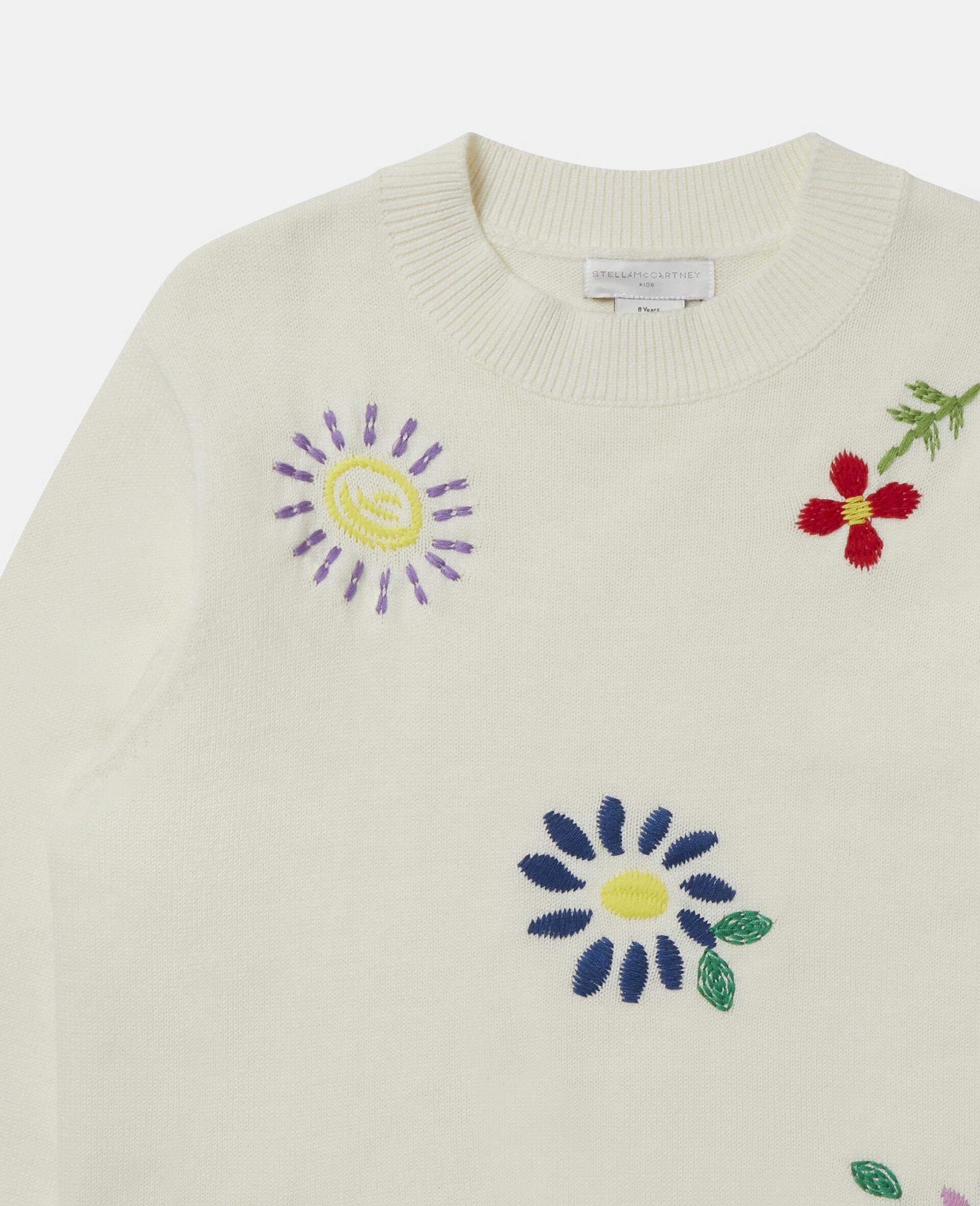 Pull oversize à fleurs brodées-Blanc-large image number 1
