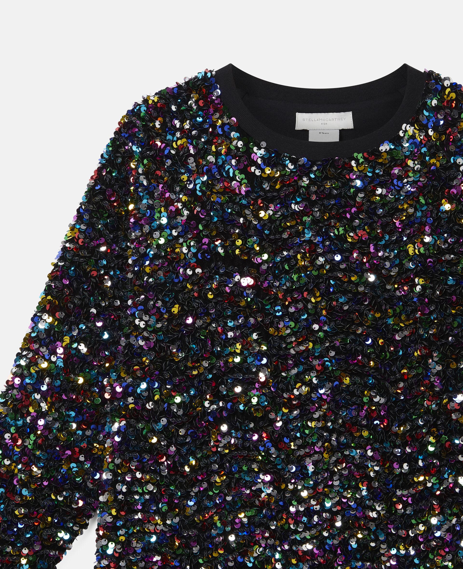 Sequined Fleece Sweatshirt -Multicolour-large image number 1