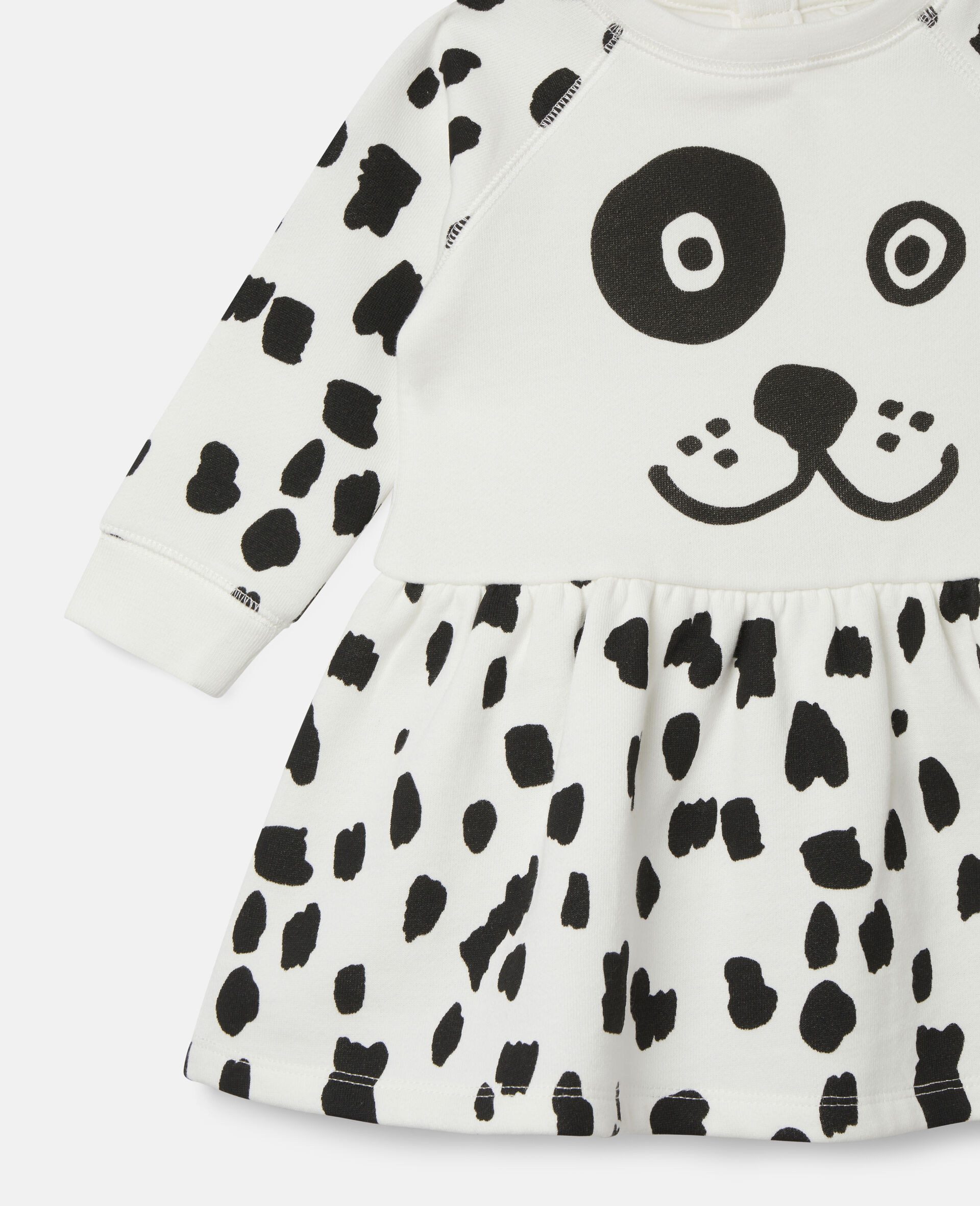 Dalmatian Sports Fleece Dress-White-large image number 1