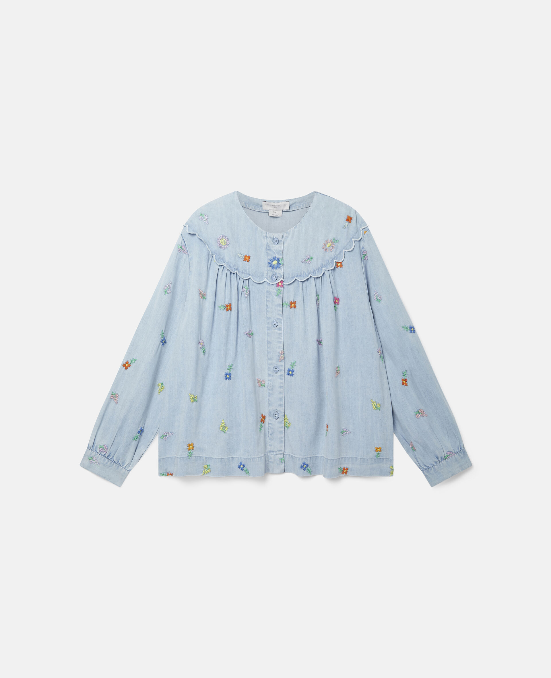 Embroidered Flowers Denim Shirt-Blue-large image number 0