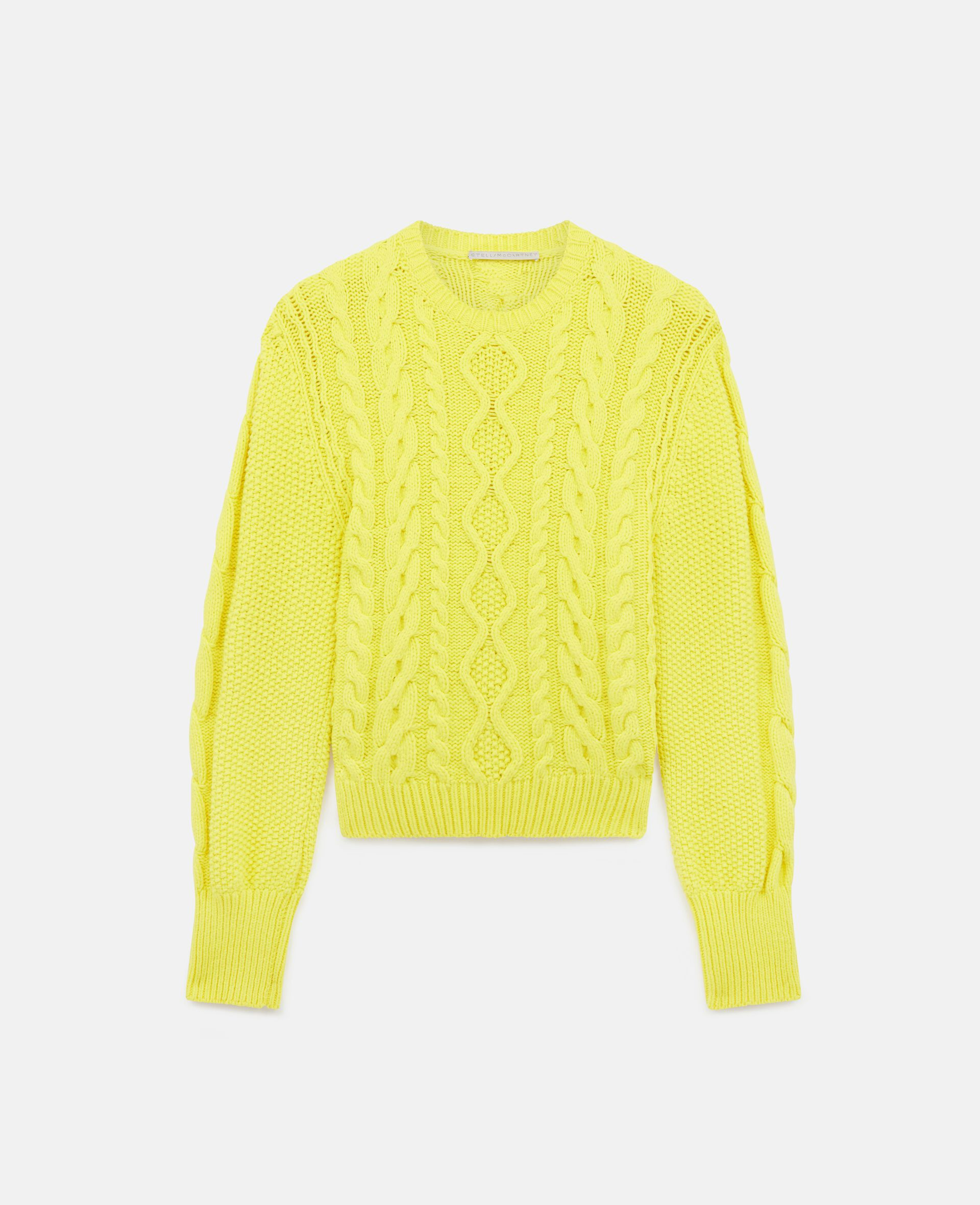 Aran Stitch Cropped Jumper-Yellow-large image number 0
