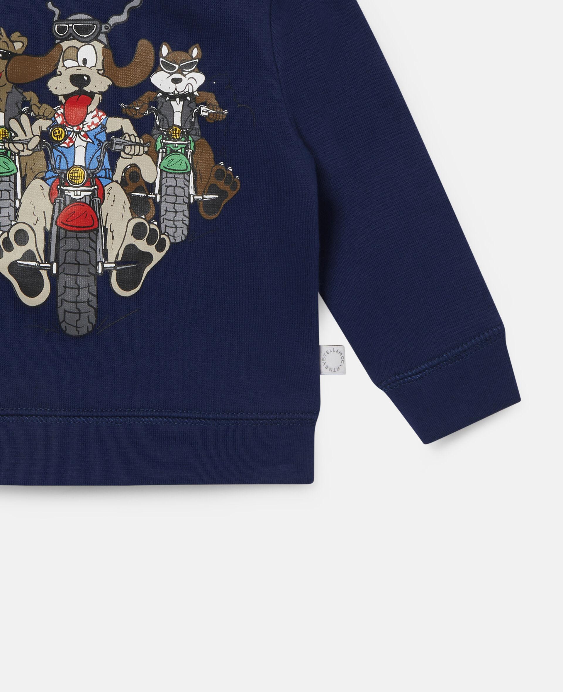 Sweat-shirt en polaire imprimé chiens motards-Bleu-large image number 2