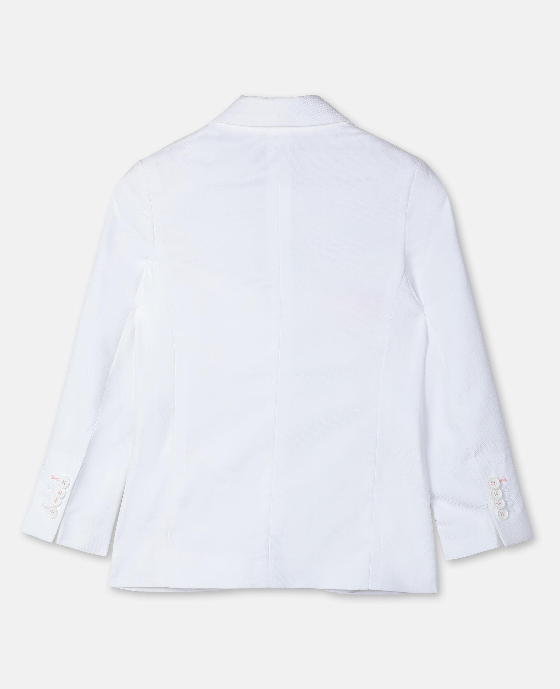Cotton-Piqué Suit Jacket -White-large image number 3