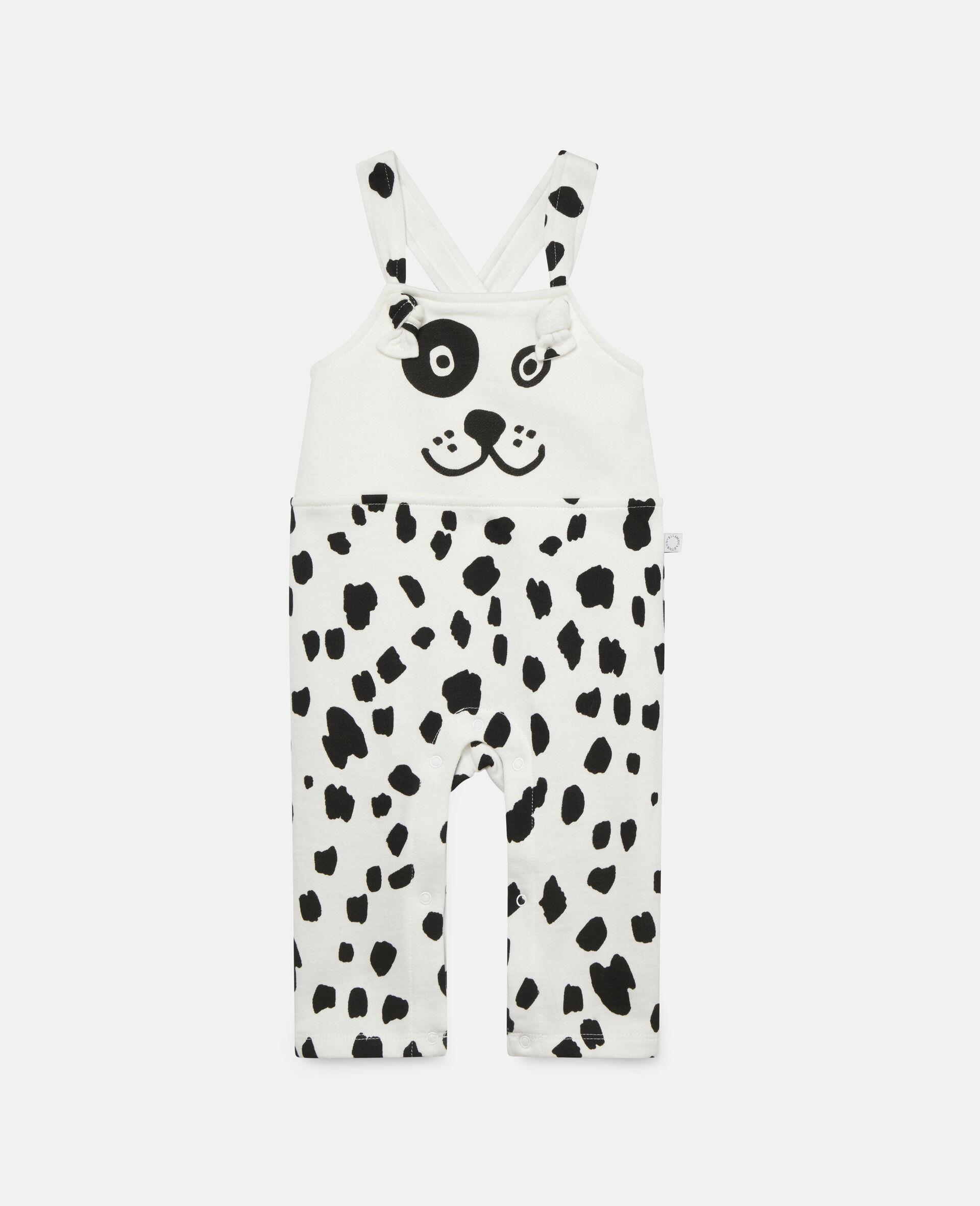 Fleece-Jumpsuit mit Dalmatinerflecken-Print-Weiß-large image number 0