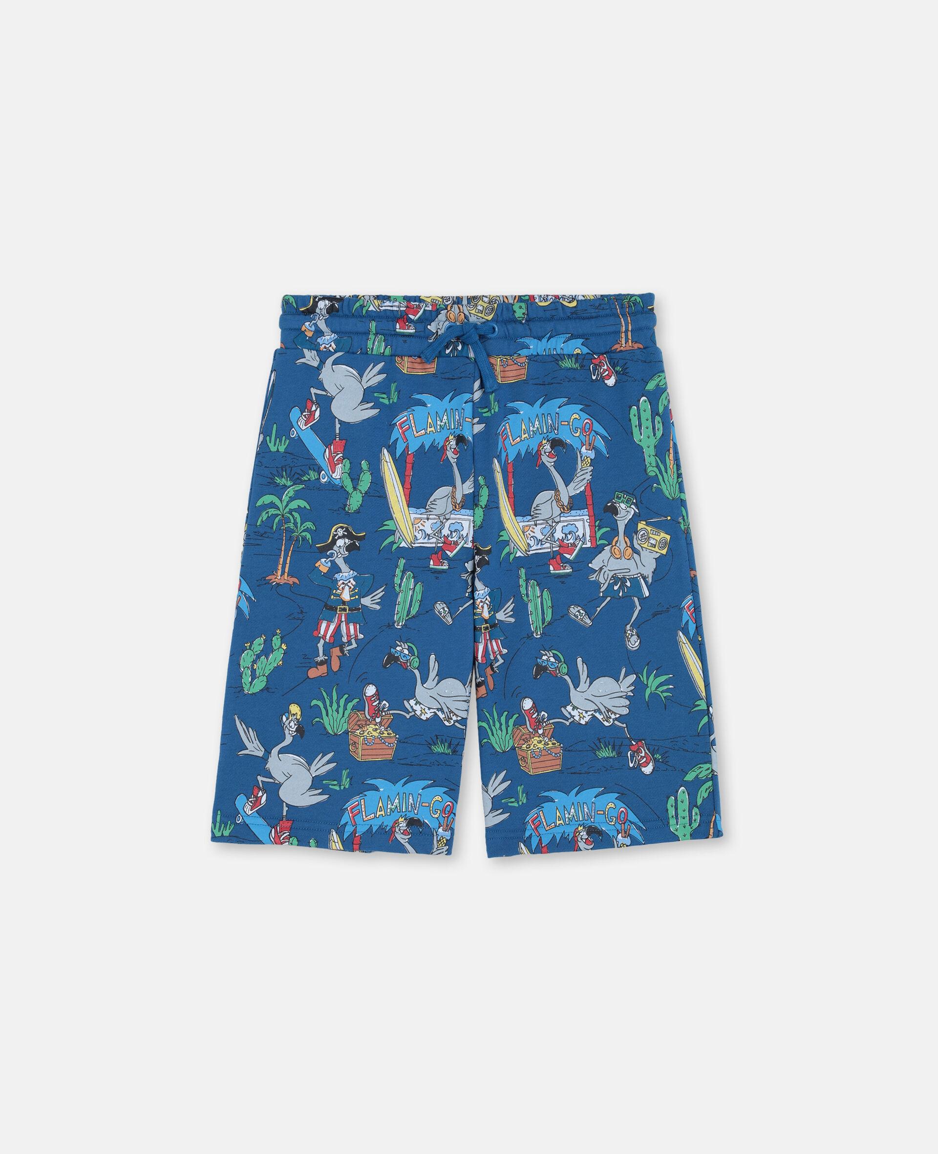 Baumwollshorts mit Flamingo-Land-Print -Blau-large image number 0