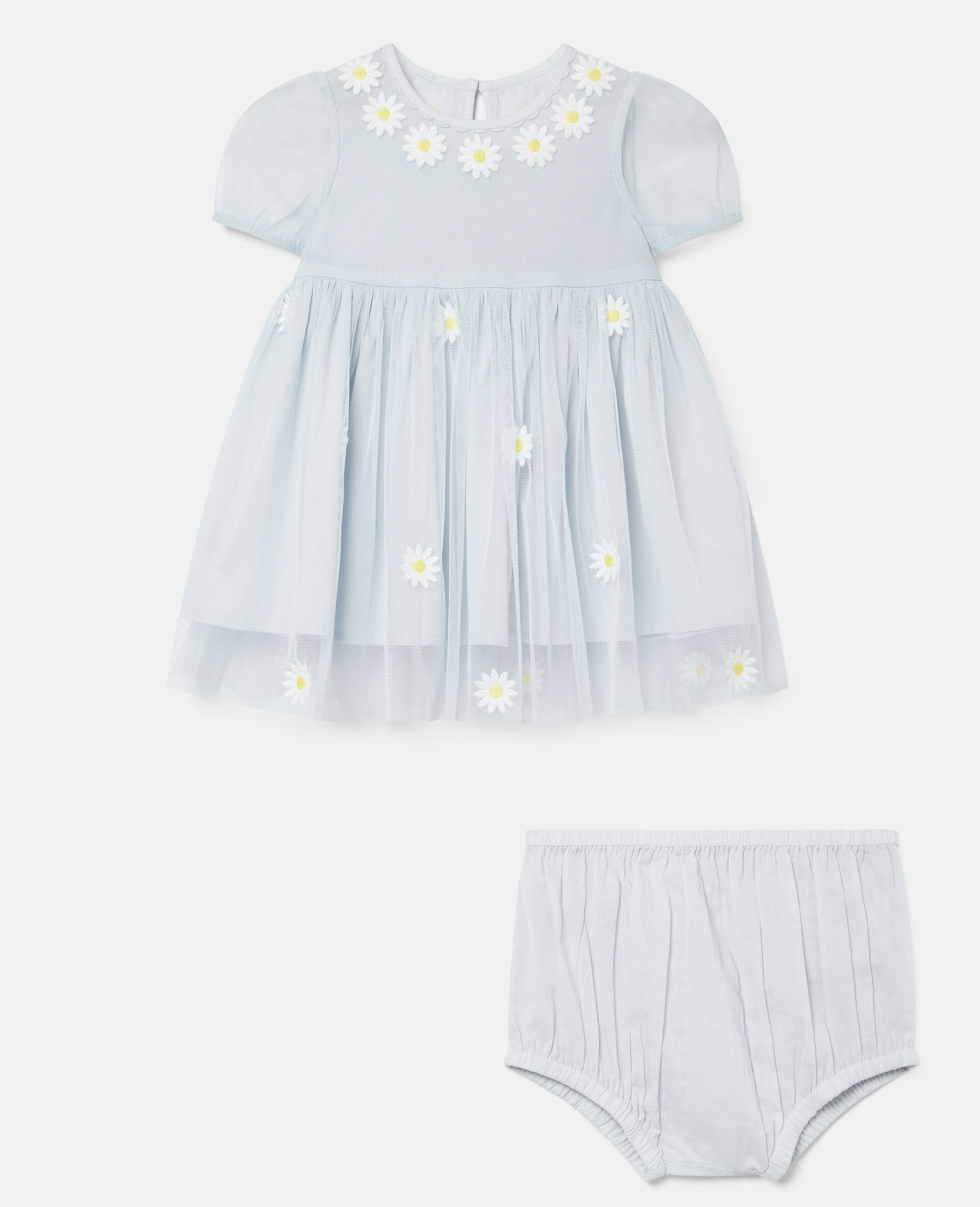 Embroidered Daisies Tulle Dress-Blue-large image number 0