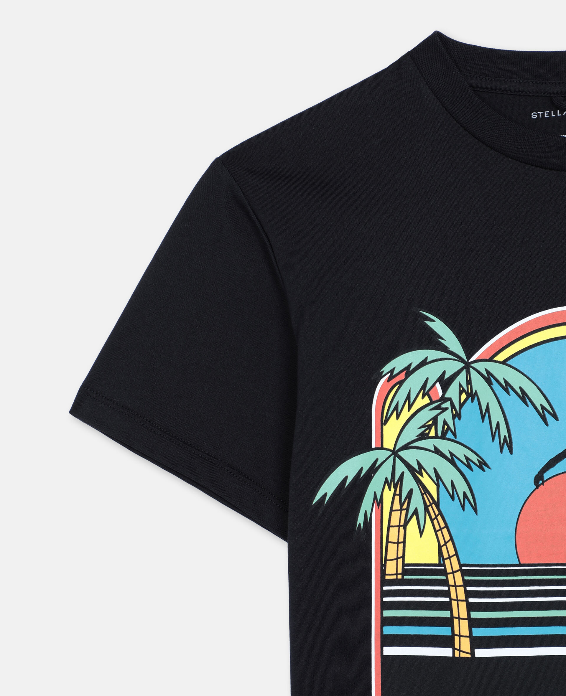 T-Shirt Oversize in Cotone con Skater -Nero-large image number 2