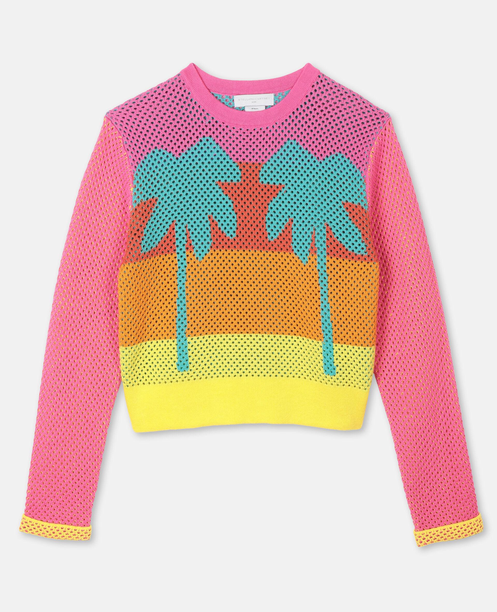 Intarsia Mesh Knit Cotton Jumper -Multicolour-large image number 0