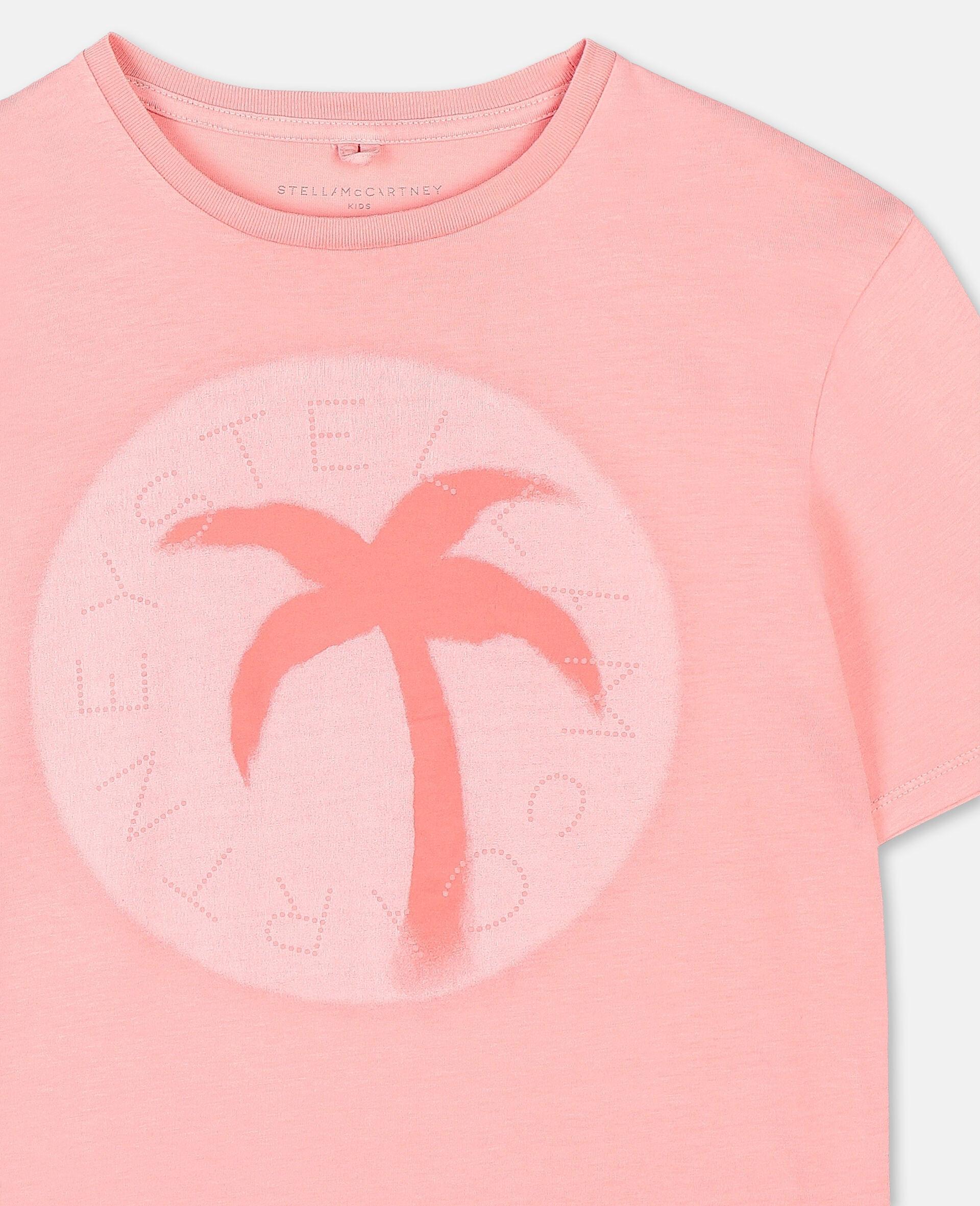 T-shirt oversize en coton avec logo et motif palmier-Rose-large image number 1