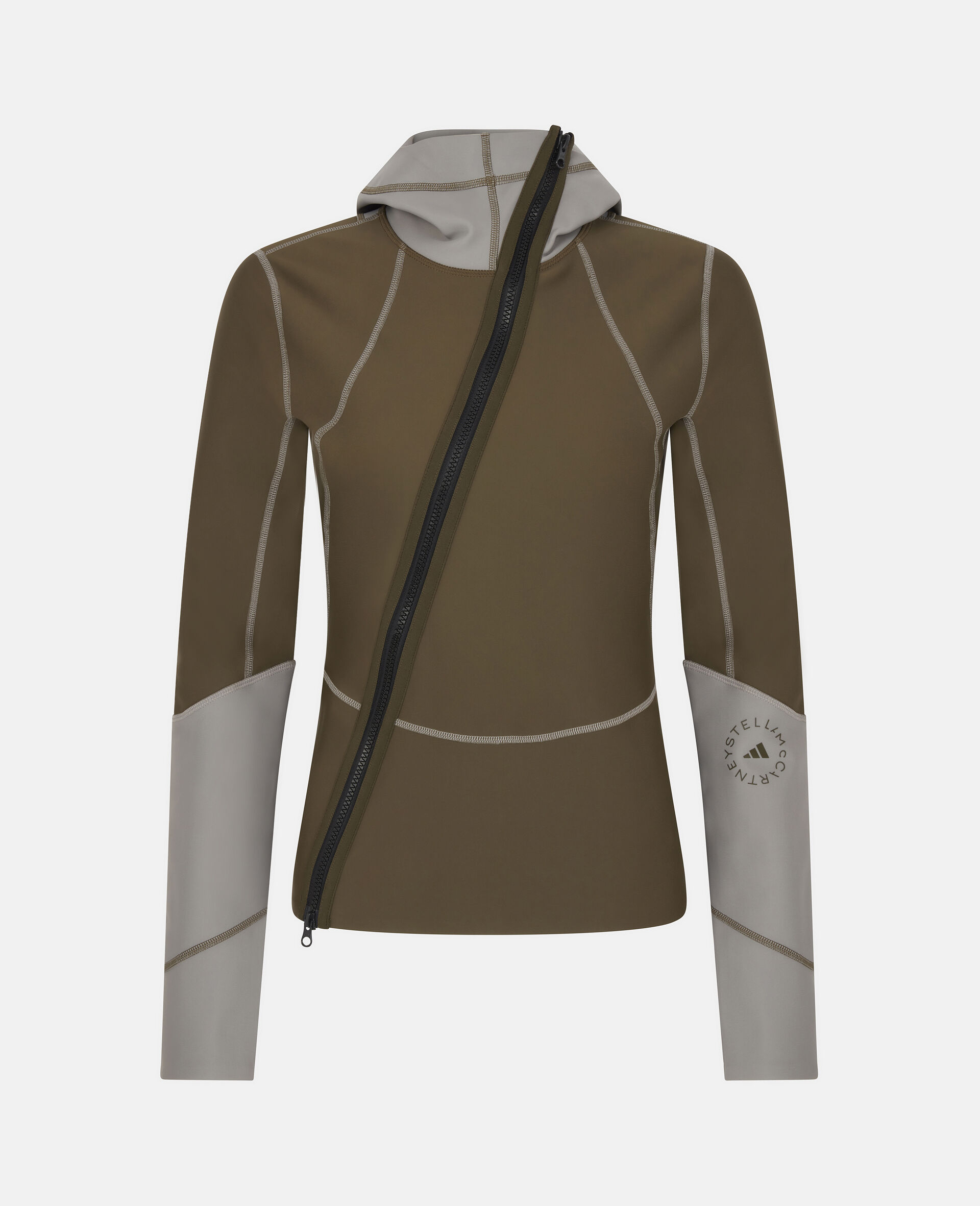Dark Khaki and Dove Grey Earth Protector Track Top-Multicolour-large image number 0