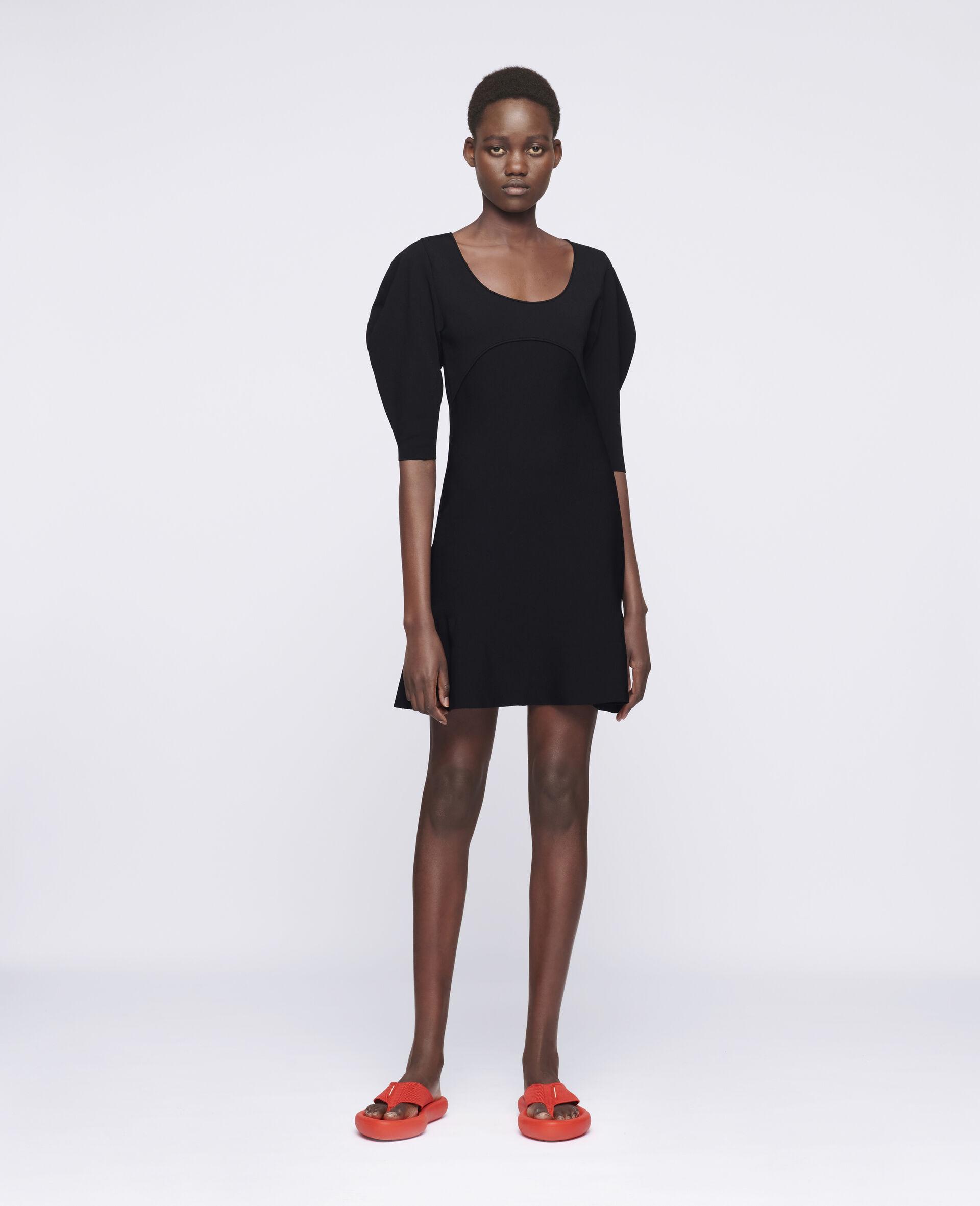 致密针织连衣裙-黑色-large image number 1