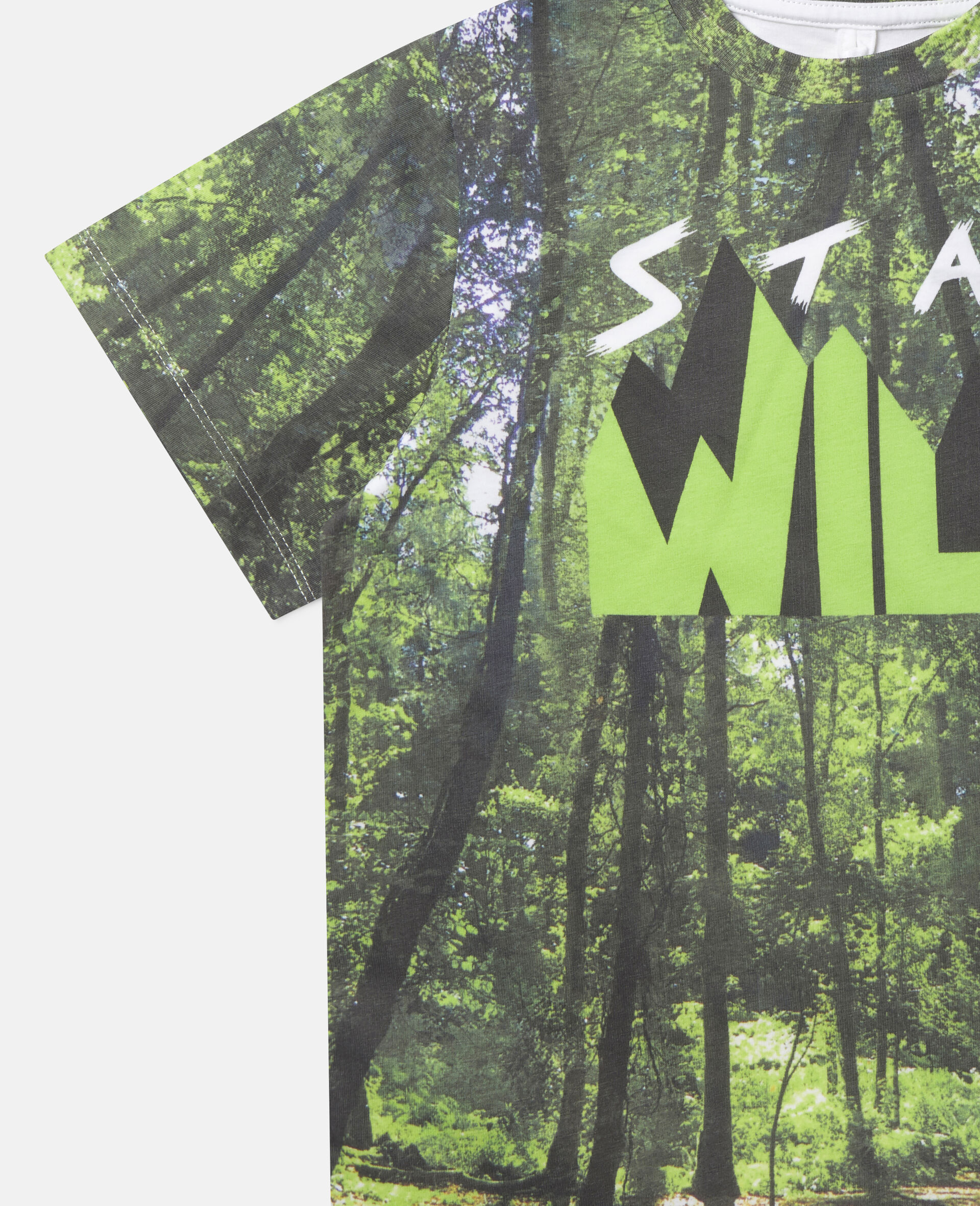 'Stay Wild' Forest Cotton T-shirt-Multicolour-large image number 2