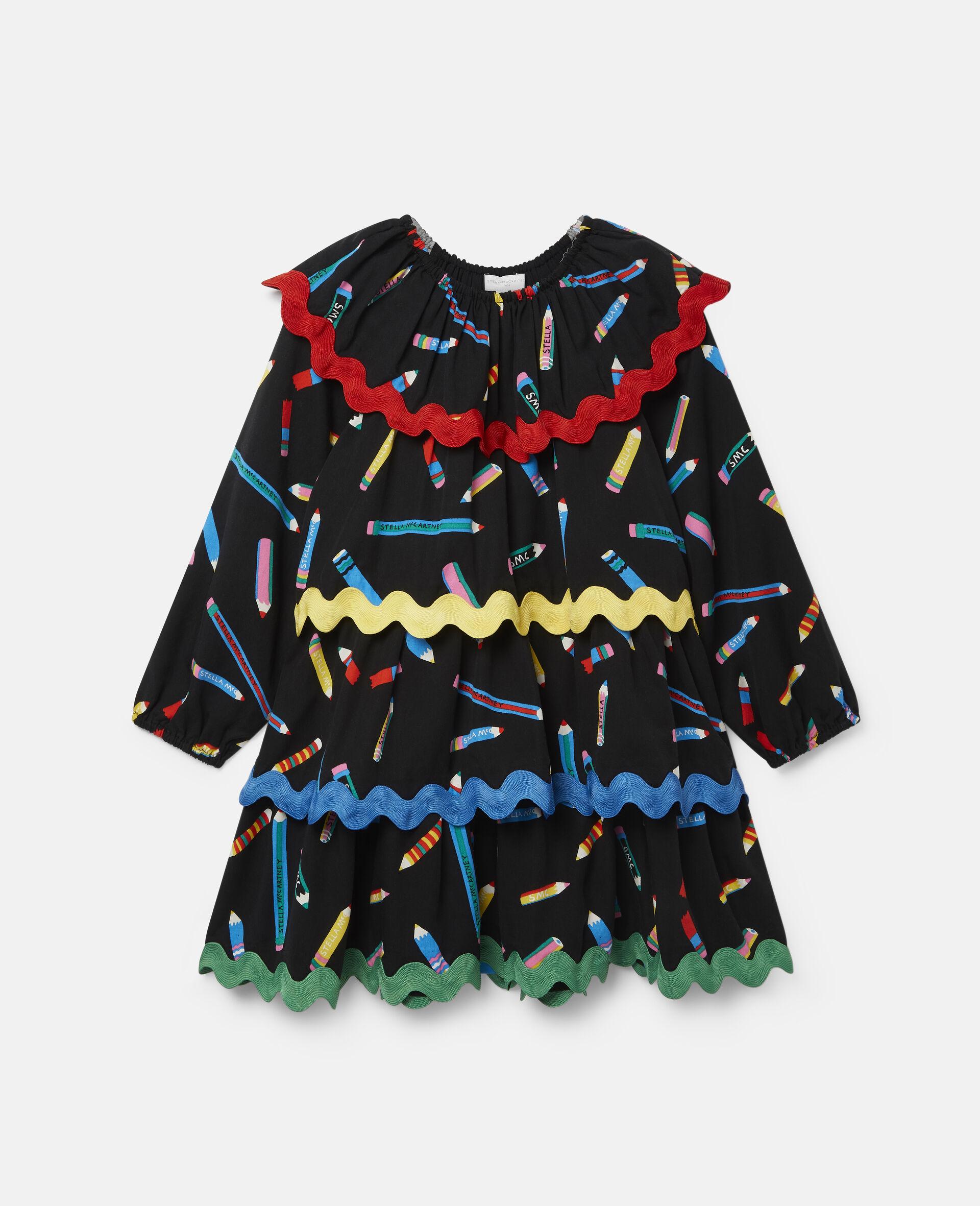 铅笔印花分层斜纹布连衣裙 -黑色-large image number 0