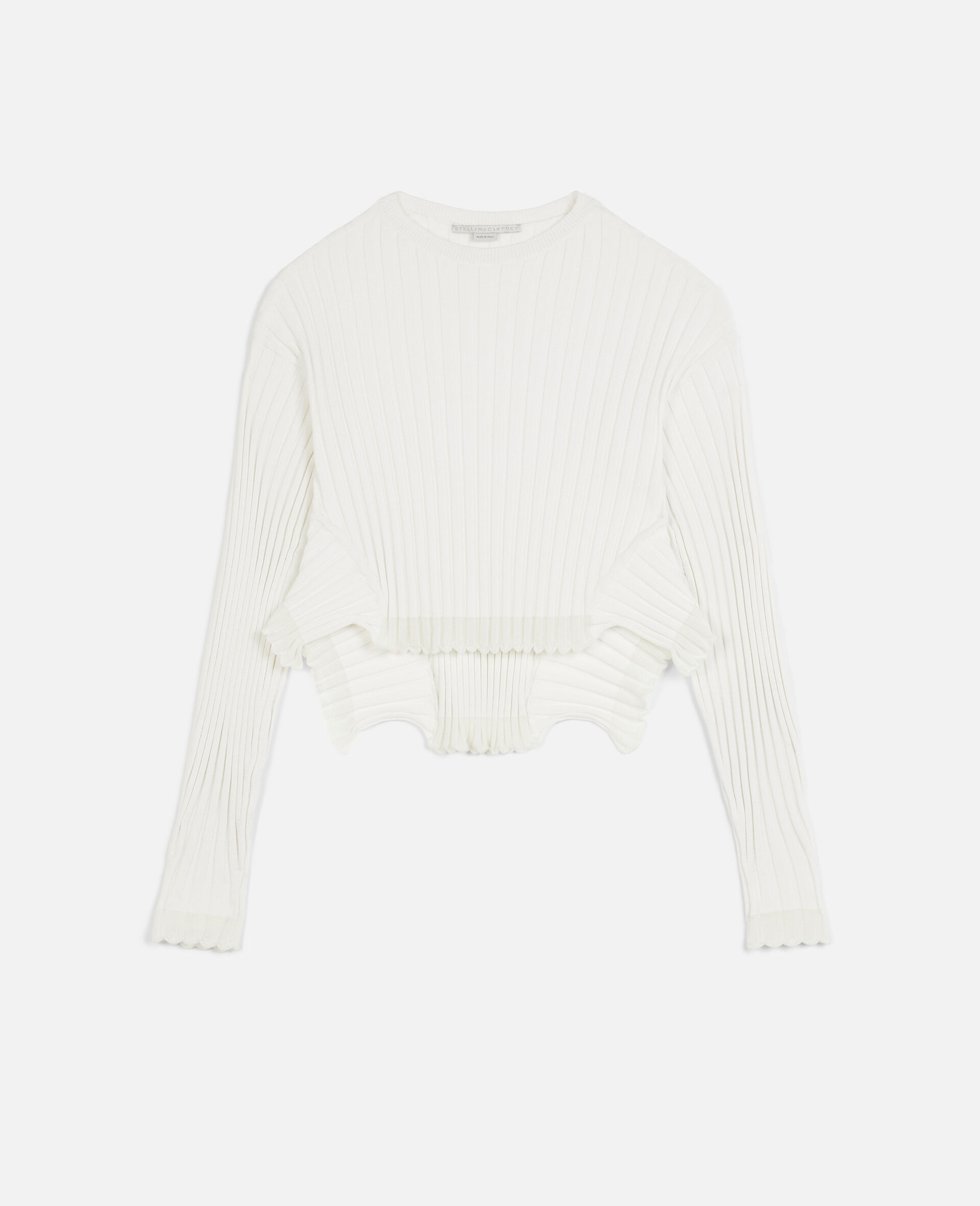 Rib-Knit Jumper -White-large image number 0