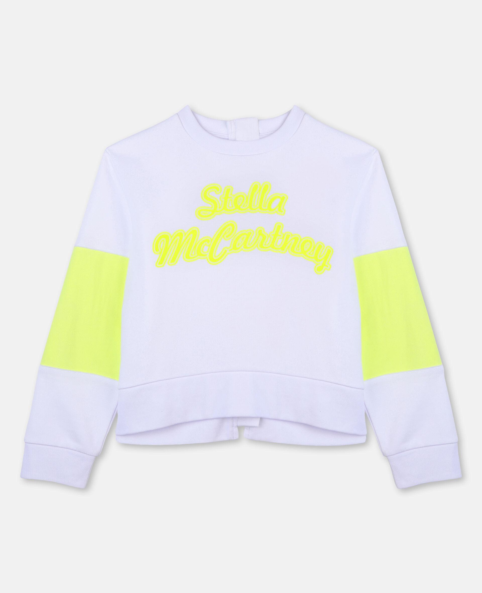 Sweat-shirt de sport en molleton de coton avec logo-Blanc-large image number 0