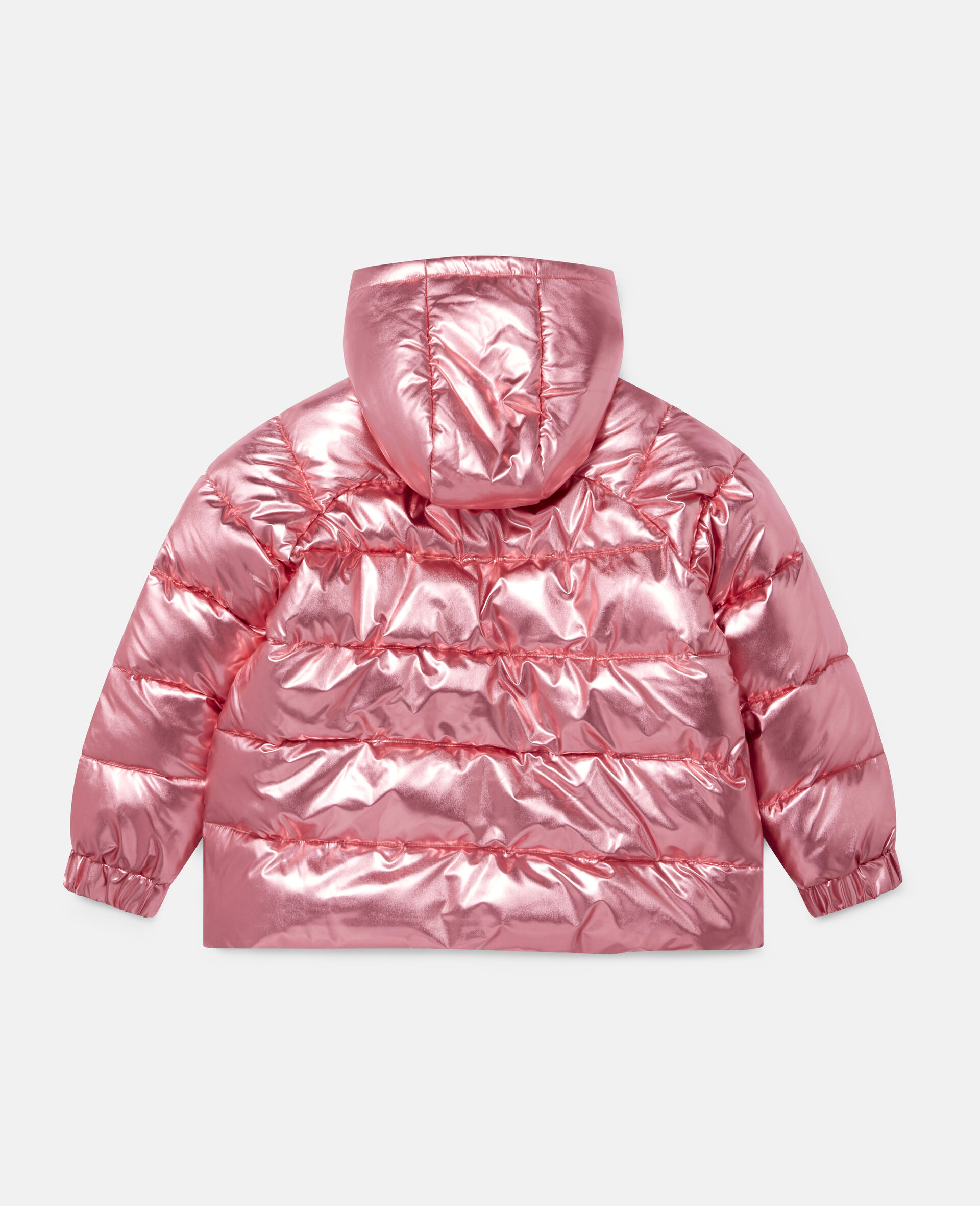 Foiled Hooded Puffer Jacket -Red-large image number 3