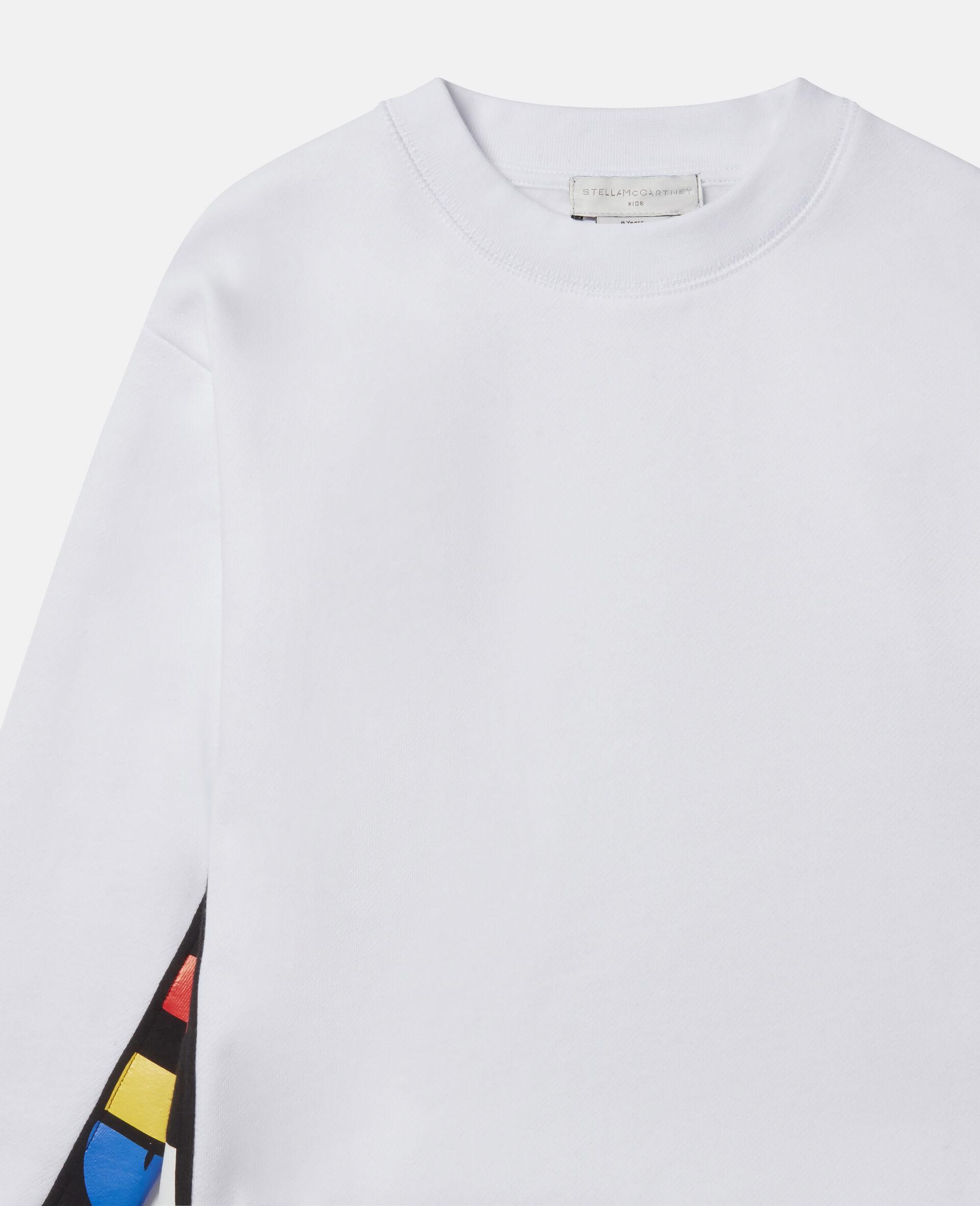 Übergroßes Sweatshirt aus Fleece mit Stella-Print -Weiß-large image number 1