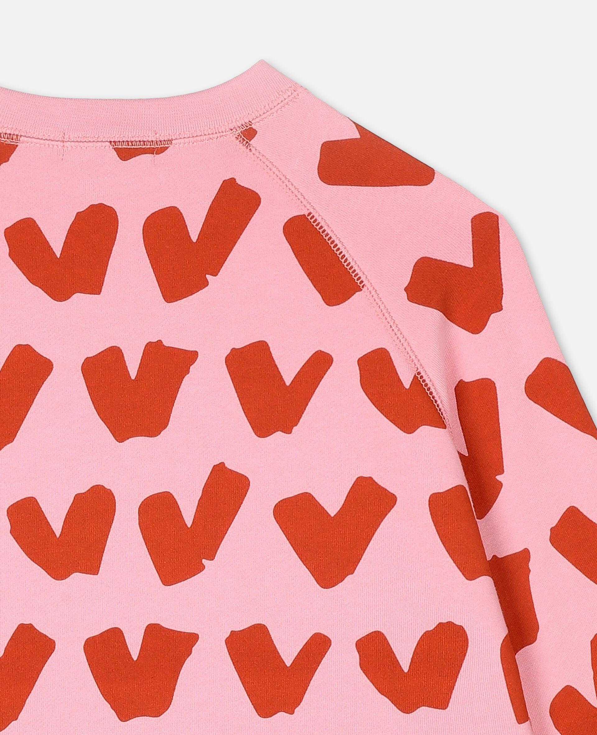 Hearts Cotton Fleece Sweatshirt -Pink-large image number 2