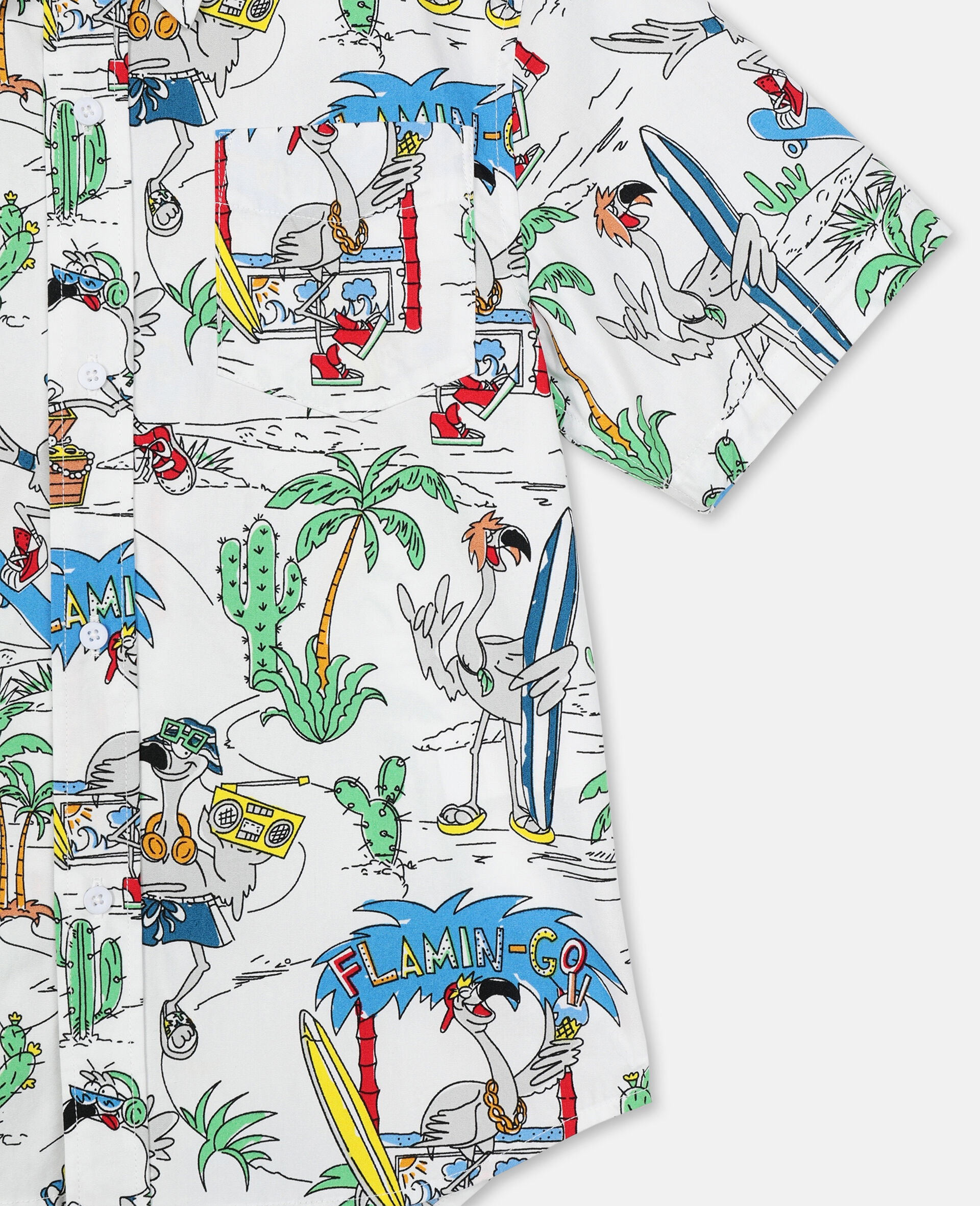 Oversize Flamingo Land Cotton Shirt -Multicolour-large image number 1