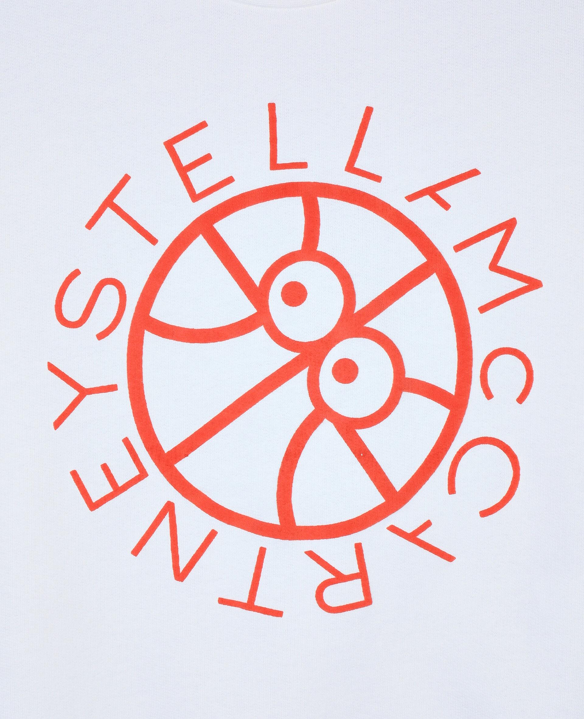 Felpa Oversize in Cotone con Logo Basket -Bianco-large image number 1