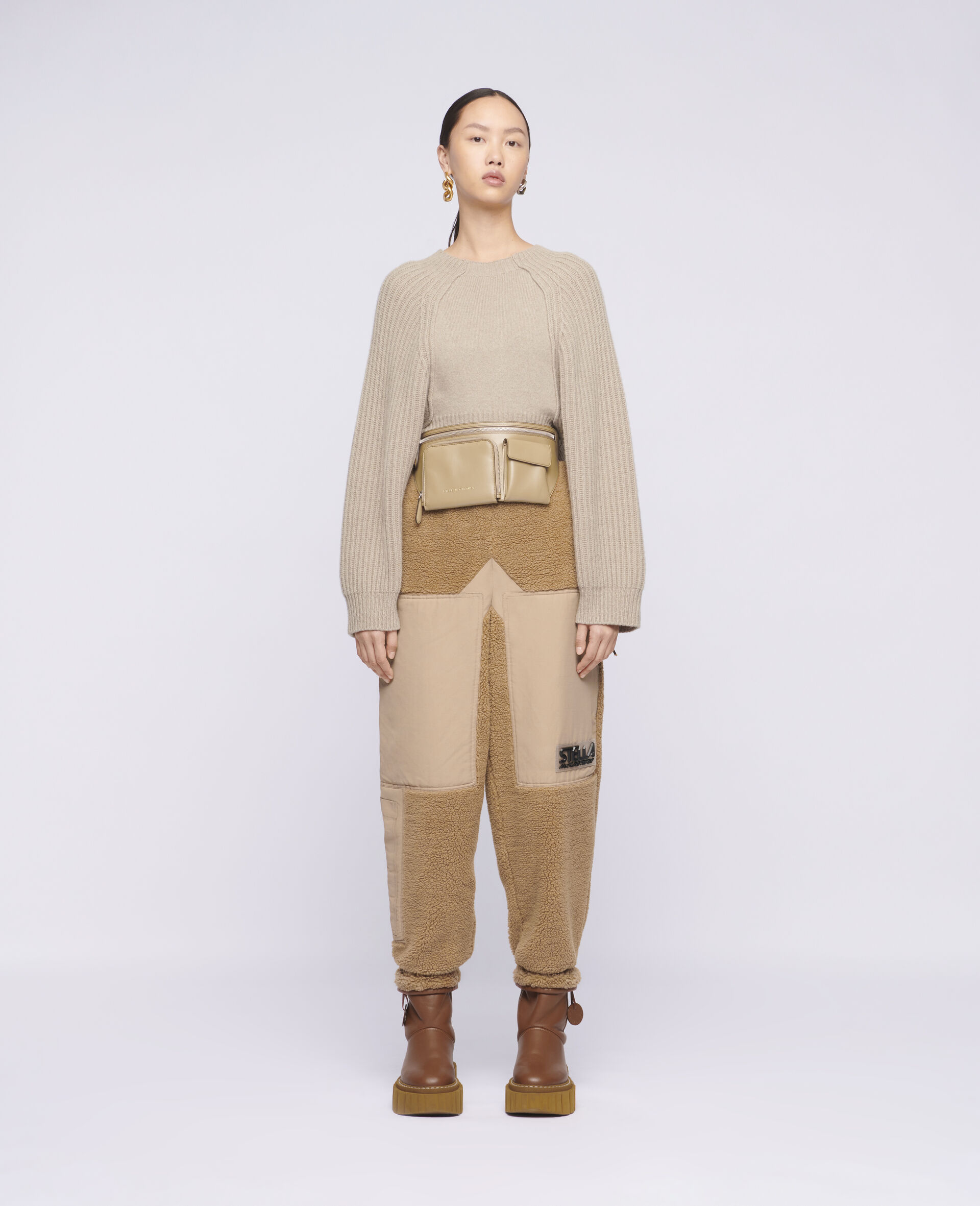 Cropped Knit Sweater -Beige-large image number 1