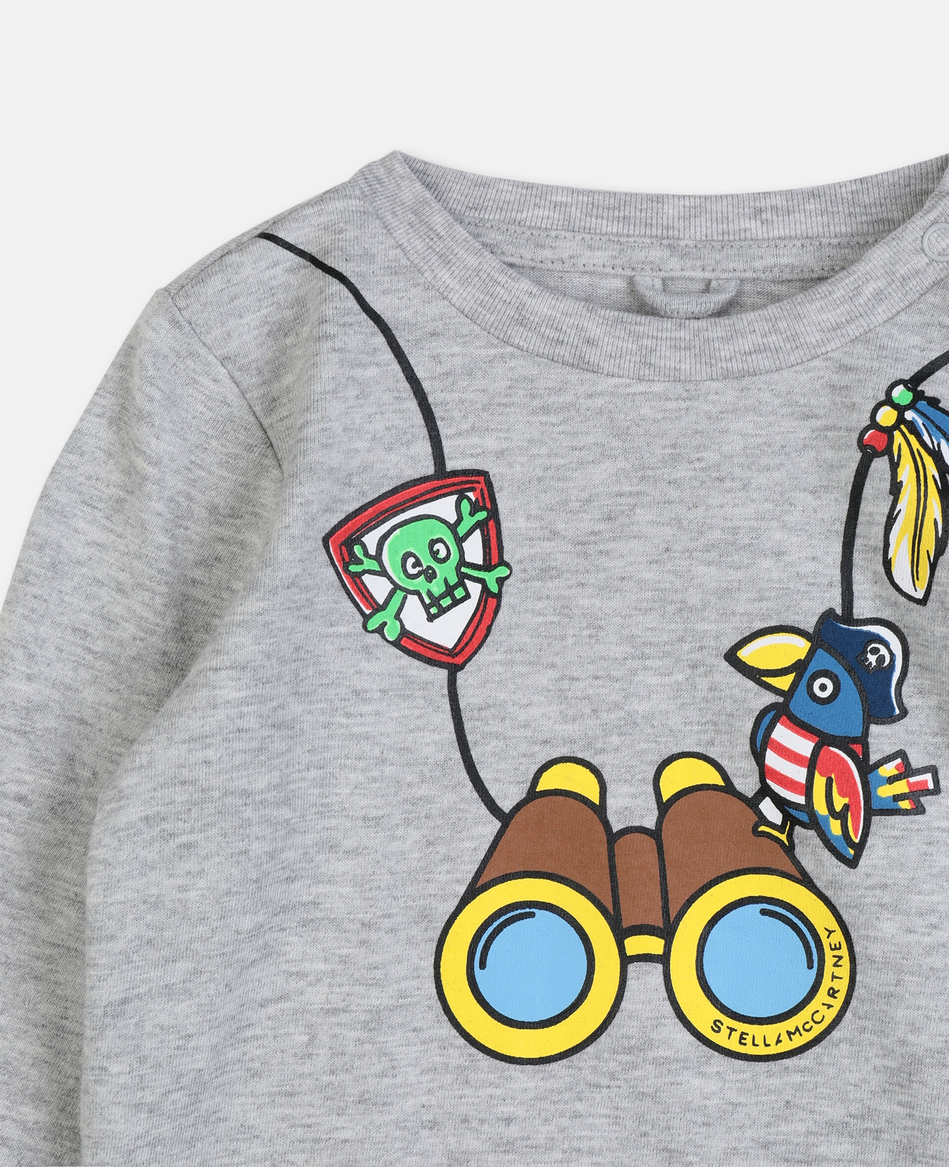 T-Shirt aus Baumwolle mit Fernglas-Print -Grau-large image number 2