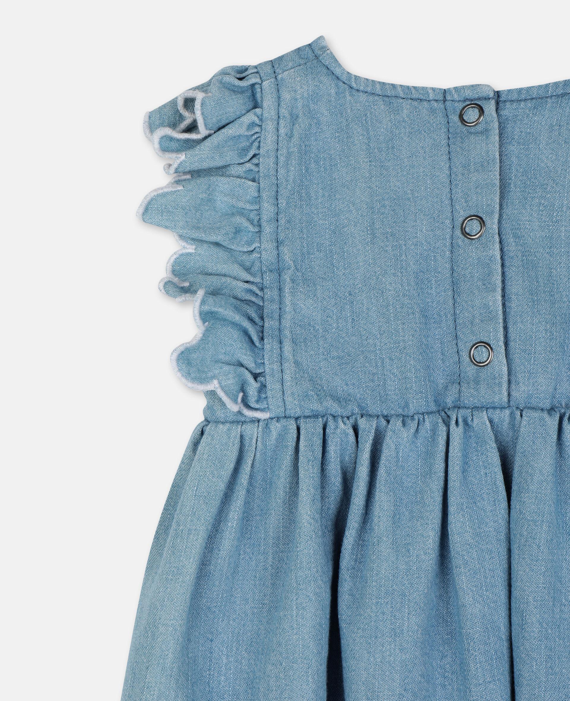 Shorts aus Denim mit Schmetterling-Aufnäher-Blau-large image number 2