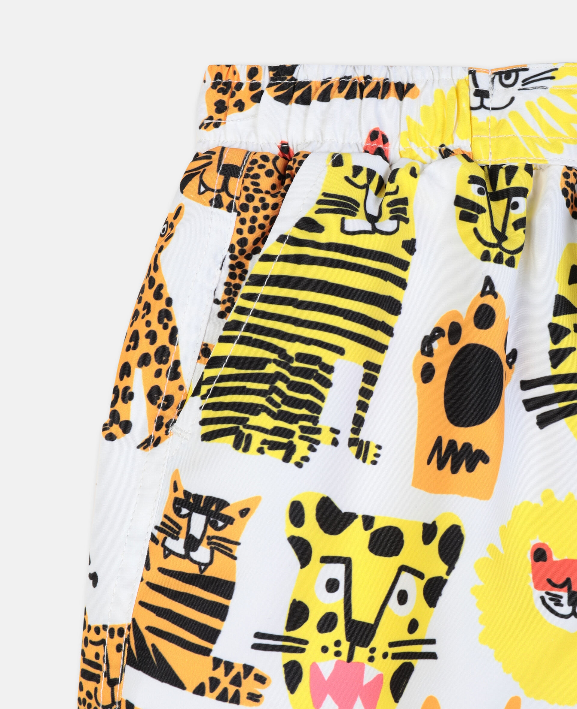 Badeshorts mit Wildkatzen-Print-Gelb-large image number 1