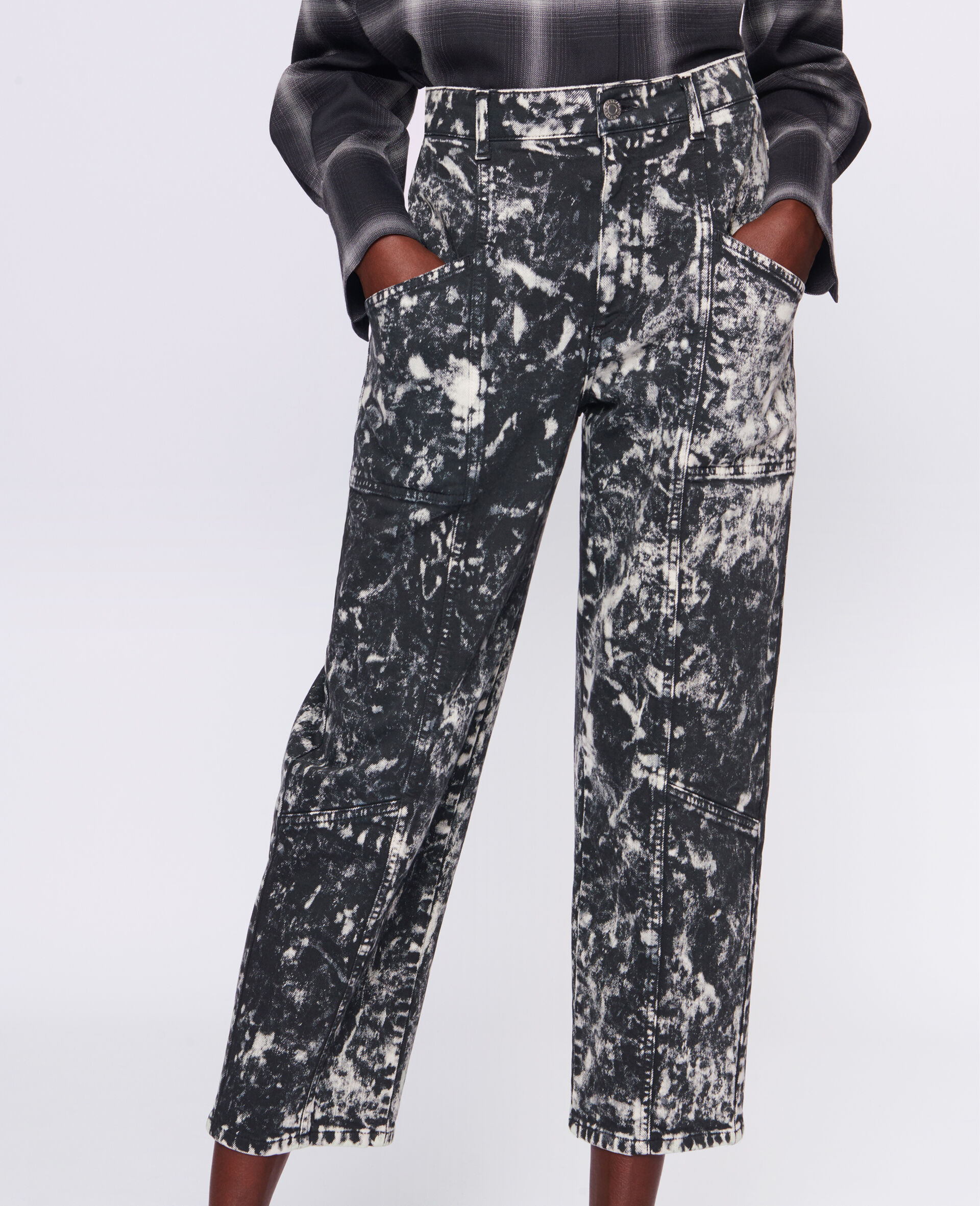 Cropped Denim Trousers-Black-large image number 3