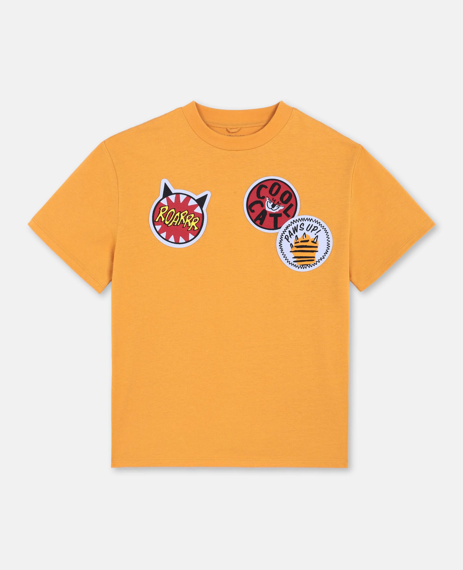Oversize Cat Badges Cotton T-shirt -Orange-large image number 0