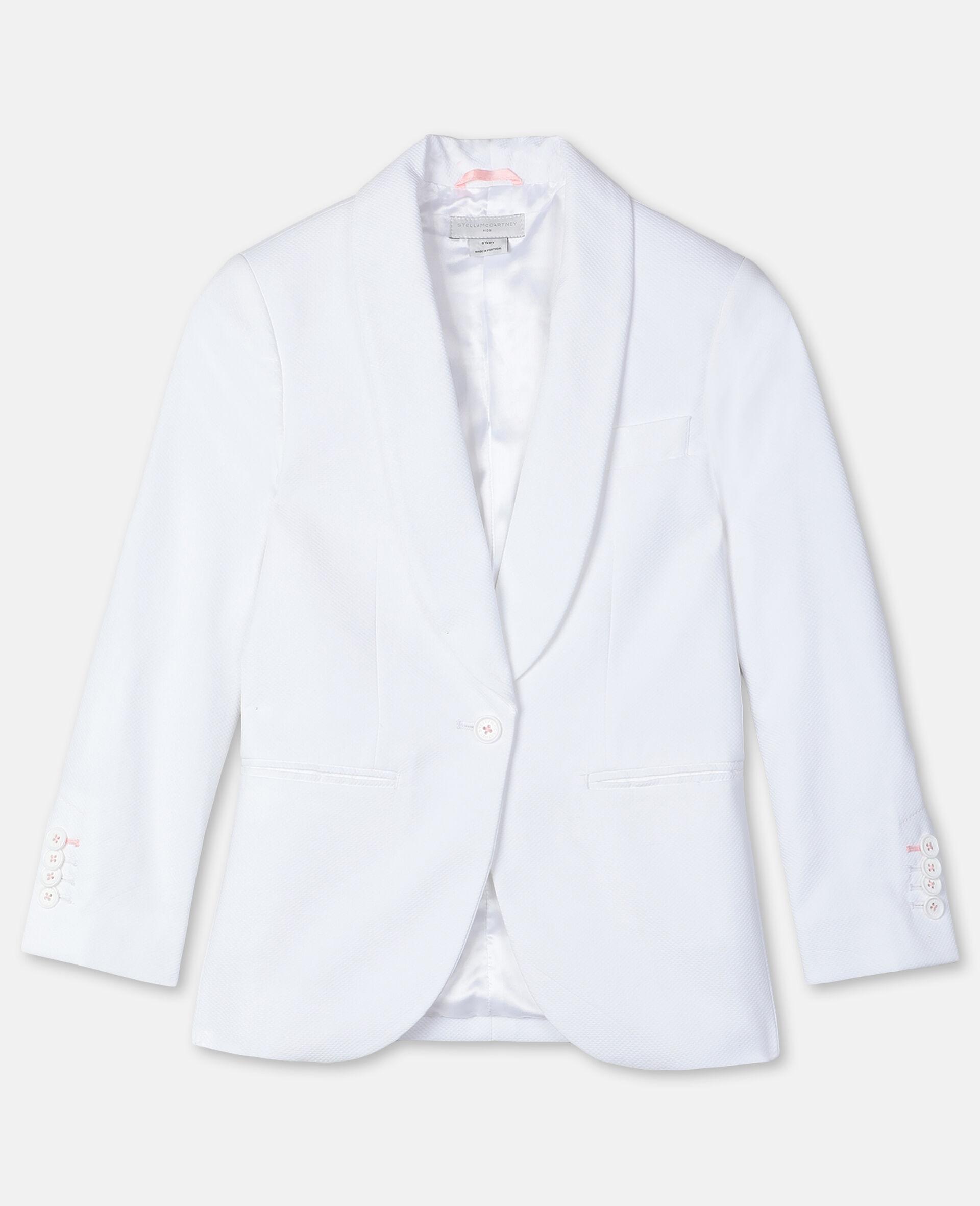 Cotton-Piqué Suit Jacket -White-large image number 0