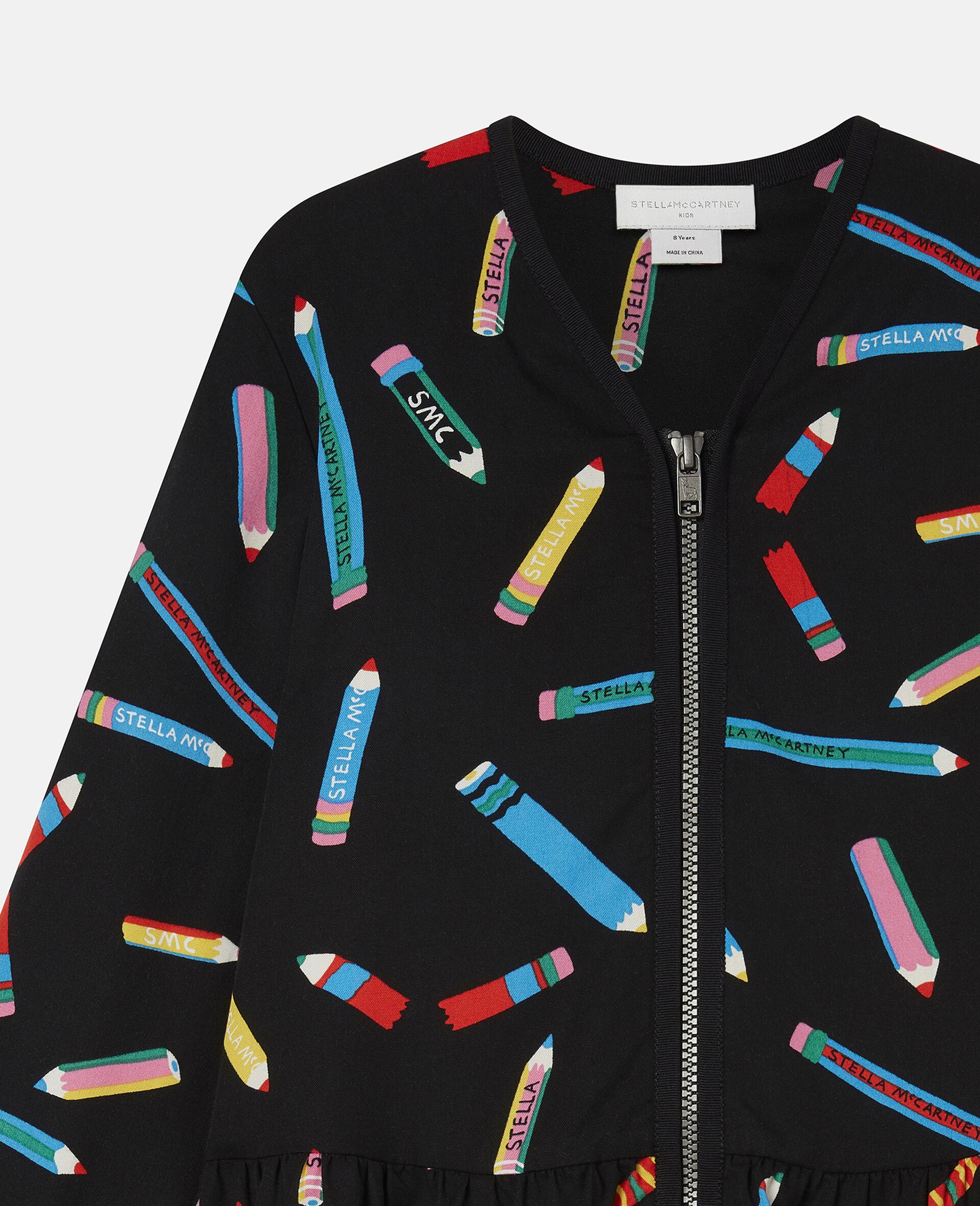 Kleid aus Twill mit Stifte-Print -Schwarz-large image number 2