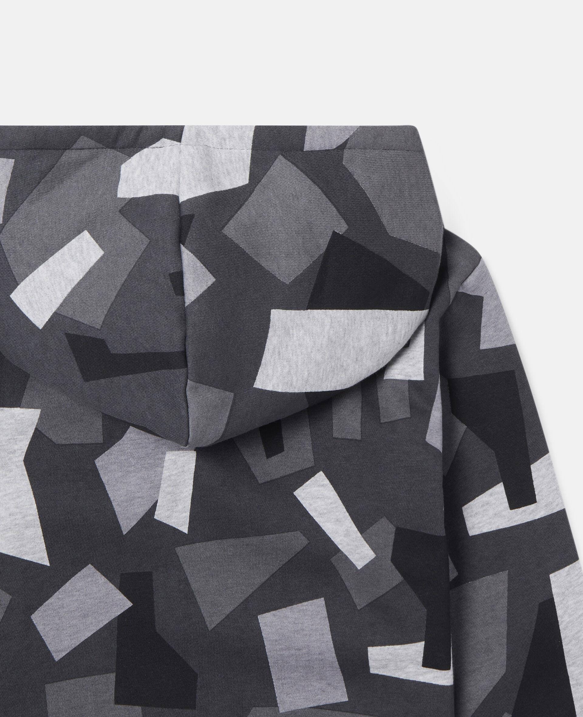 Übergroßer Kapuzenpullover aus Fleece mit geometrischem Print-Bunt-large image number 1