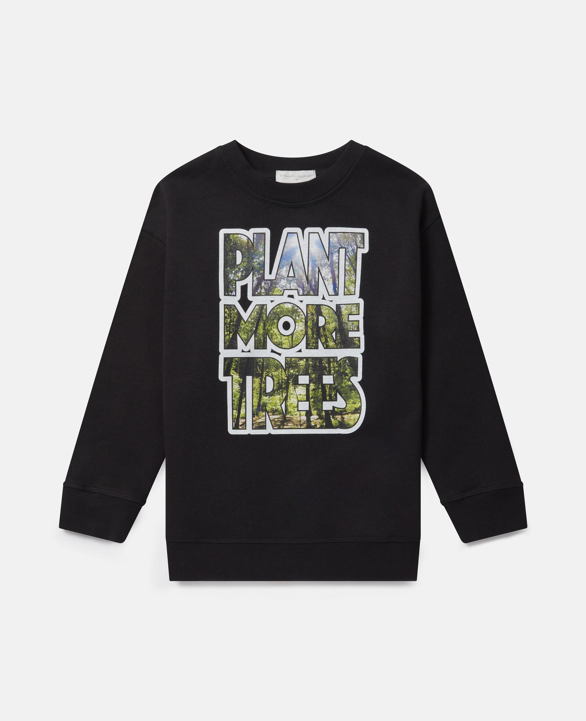 """Plant More Trees""阔型抓绒卫衣-黑色-large image number 0"