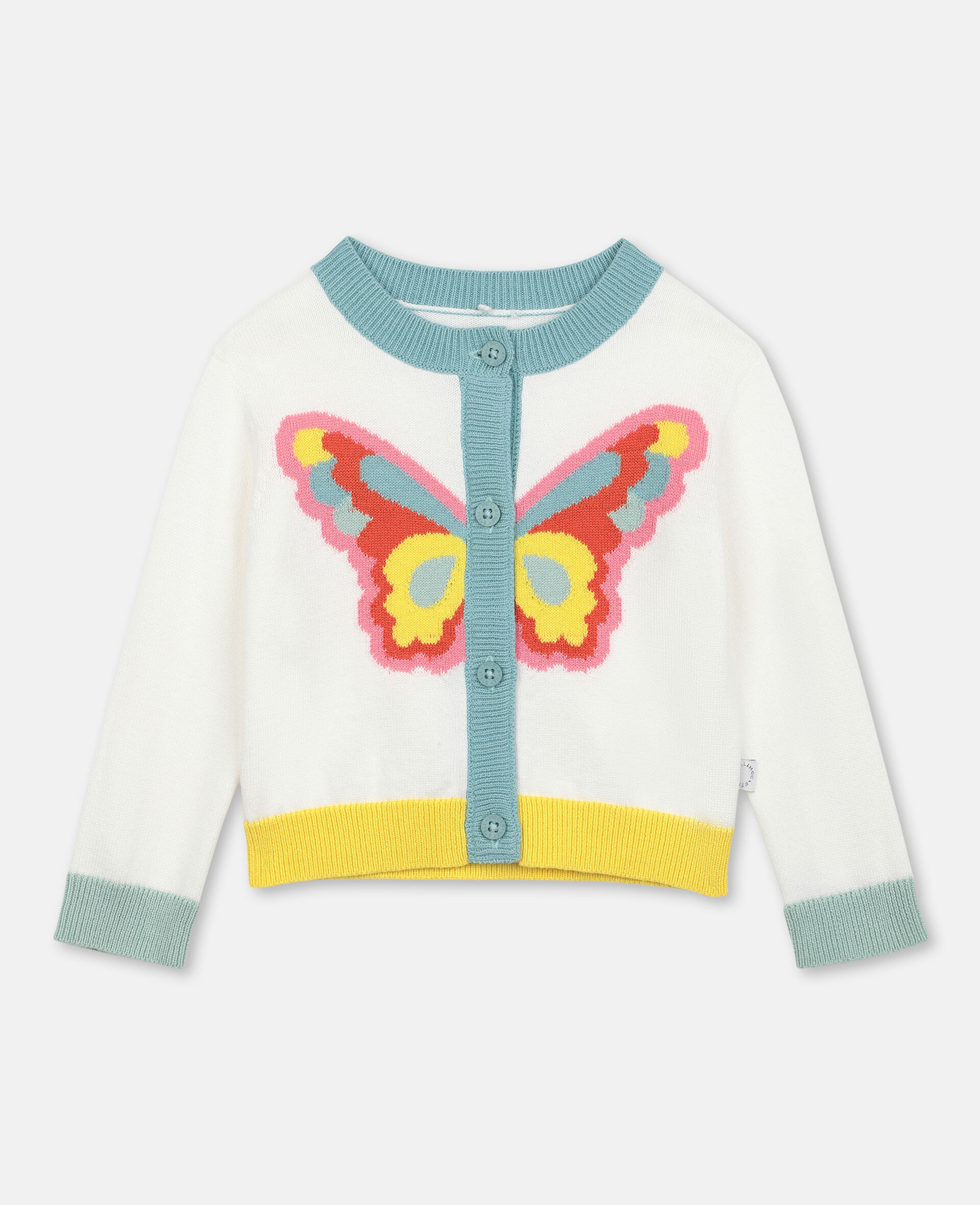 Butterfly Intarsia Knit Cardigan -White-large image number 0