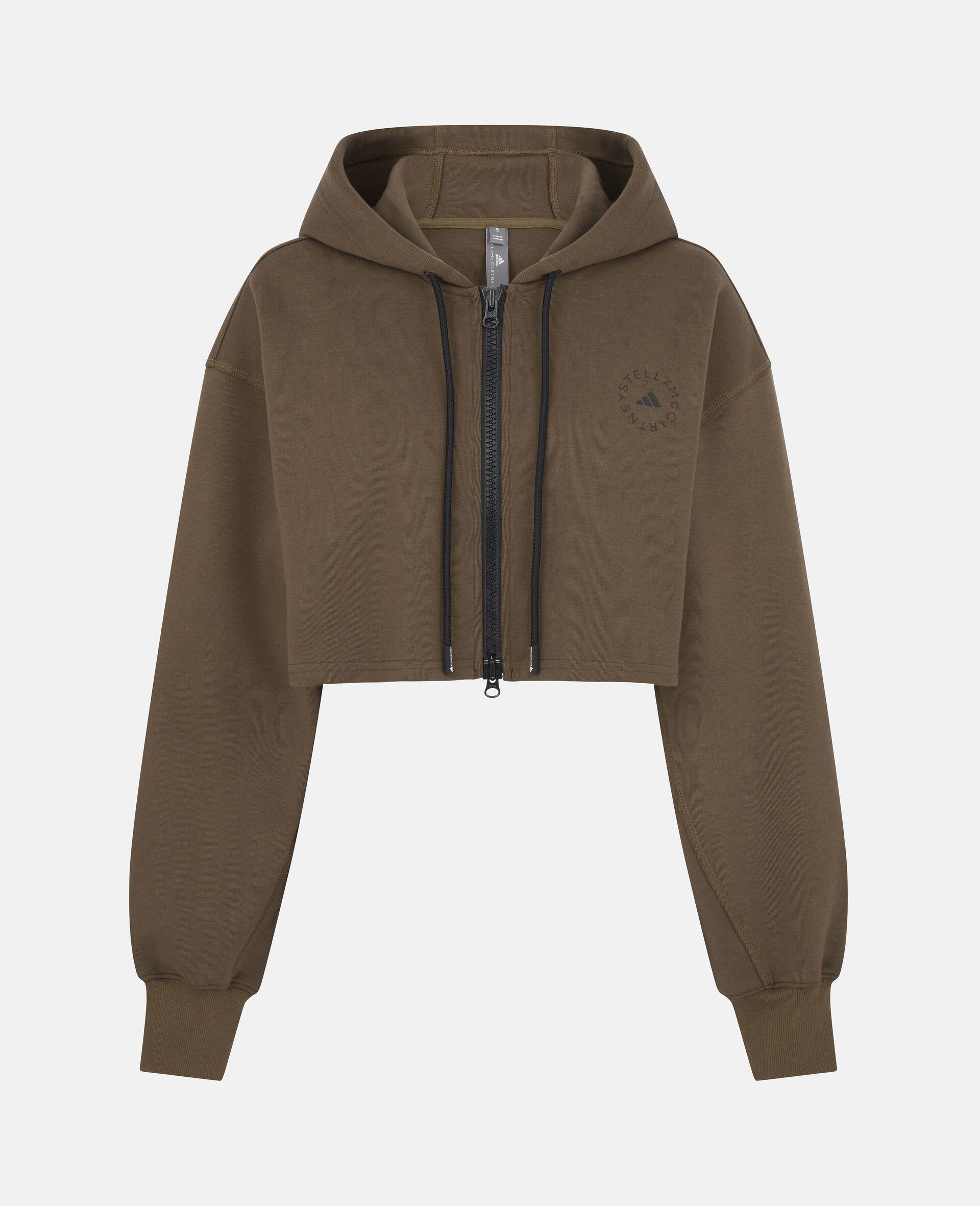 Dark Khaki Training Crop Hoodie-Brown-large image number 0