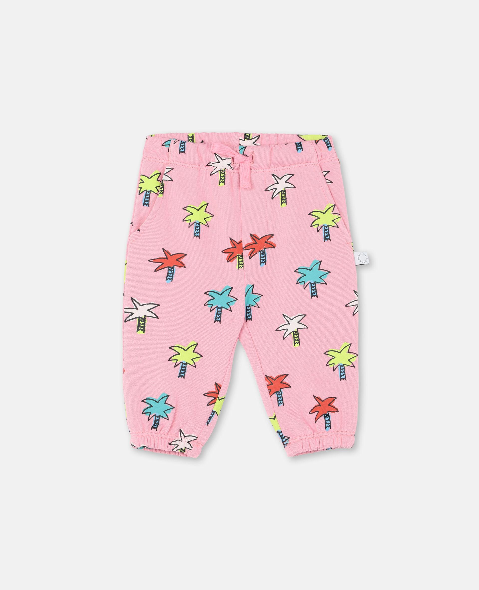 Pantaloni in Felpa con Palme -Rosa-large image number 0